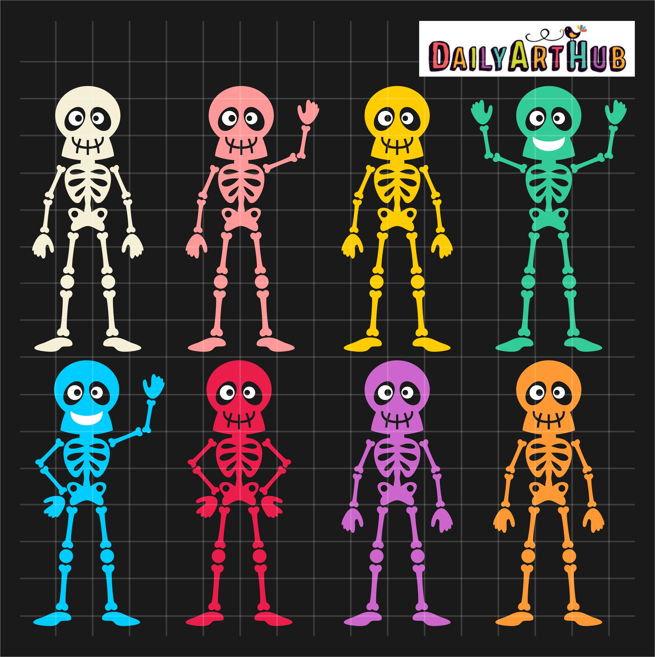 Halloween Funny Skeletons Clip Art Set – Daily Art Hub ...