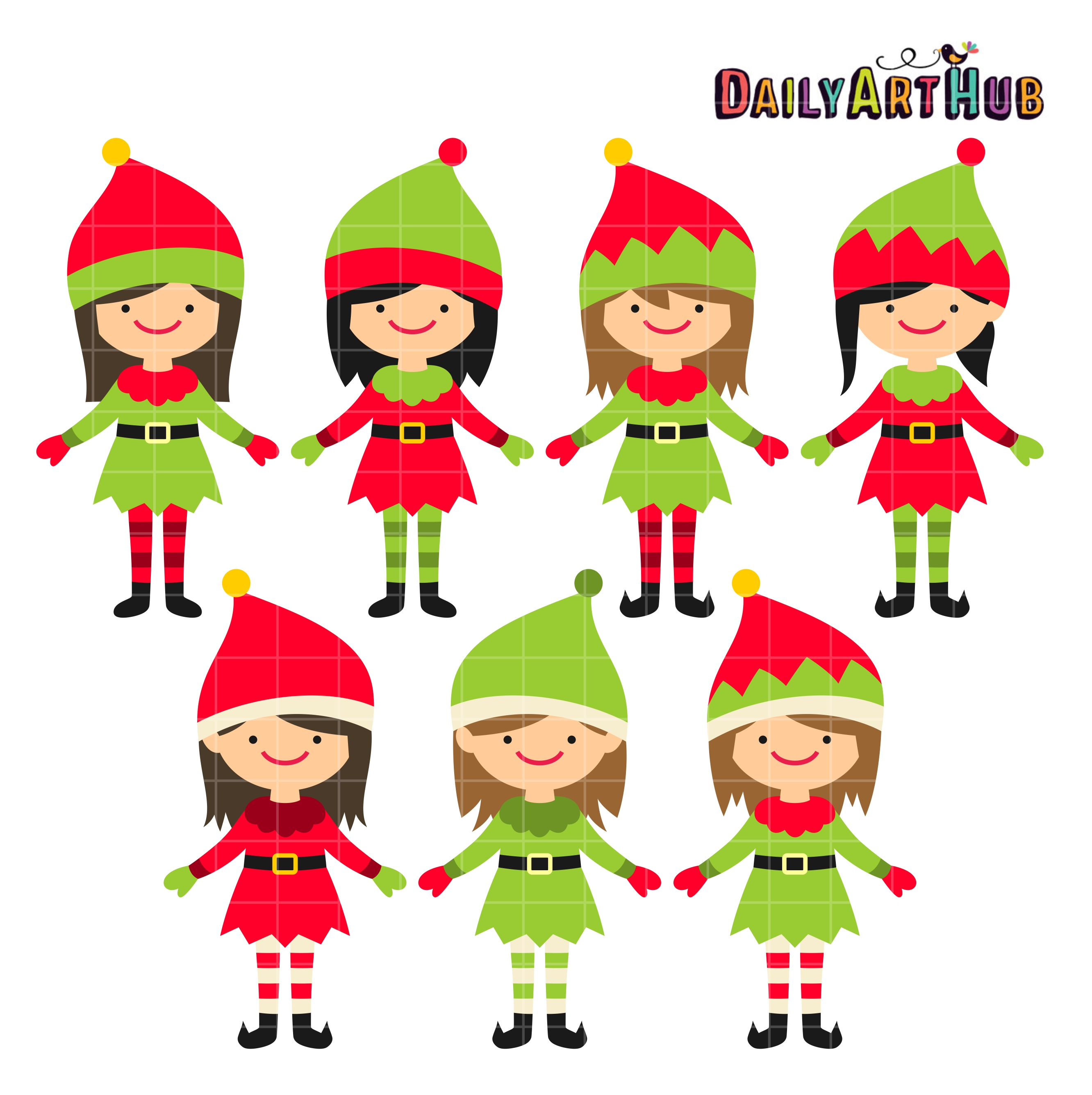 Christmas Cute Elves Clip Art Set Daily Art Hub Free