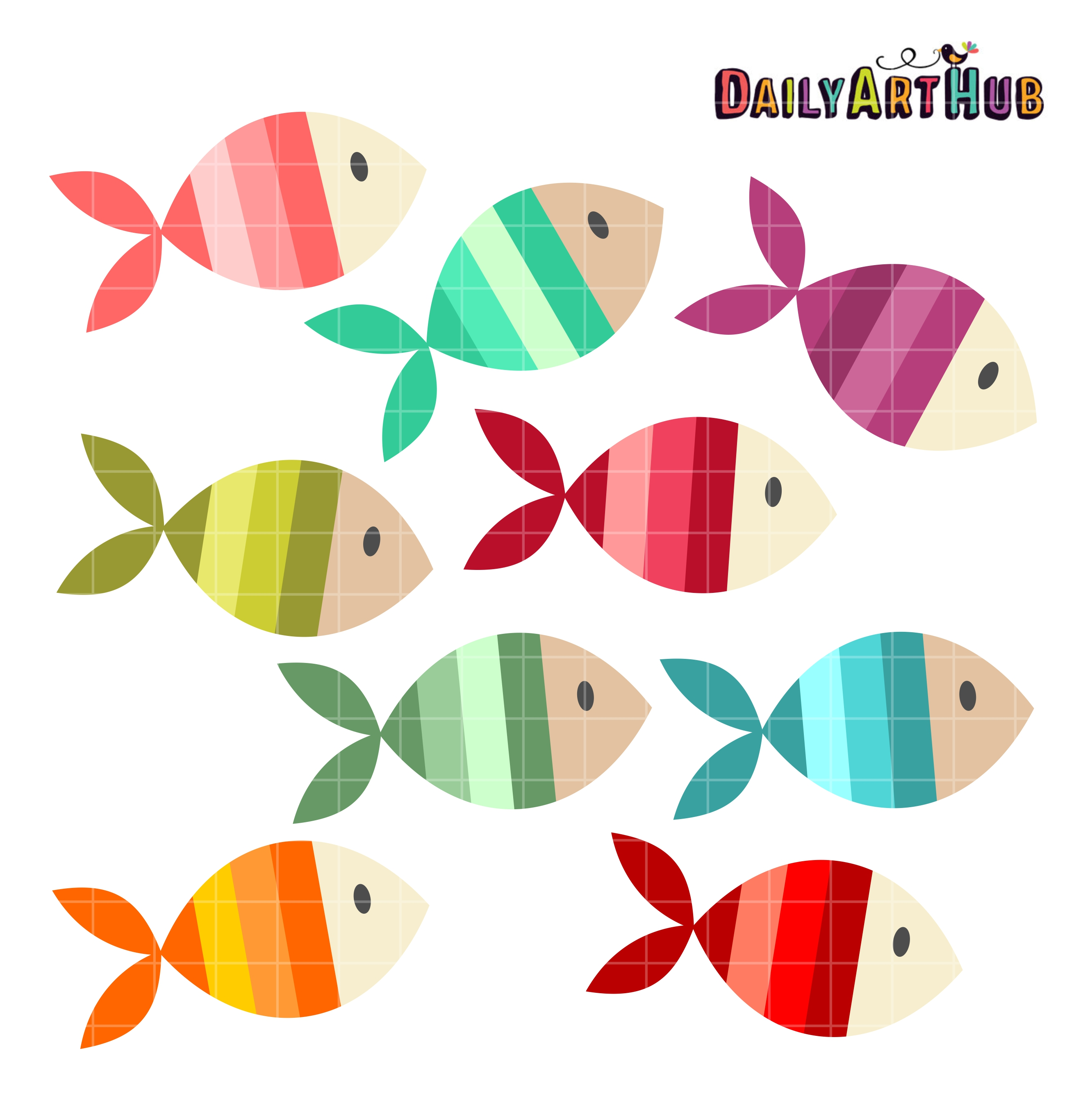 colorful fishes clip art set daily art hub free clip free school of fish clipart School of Fish Printable