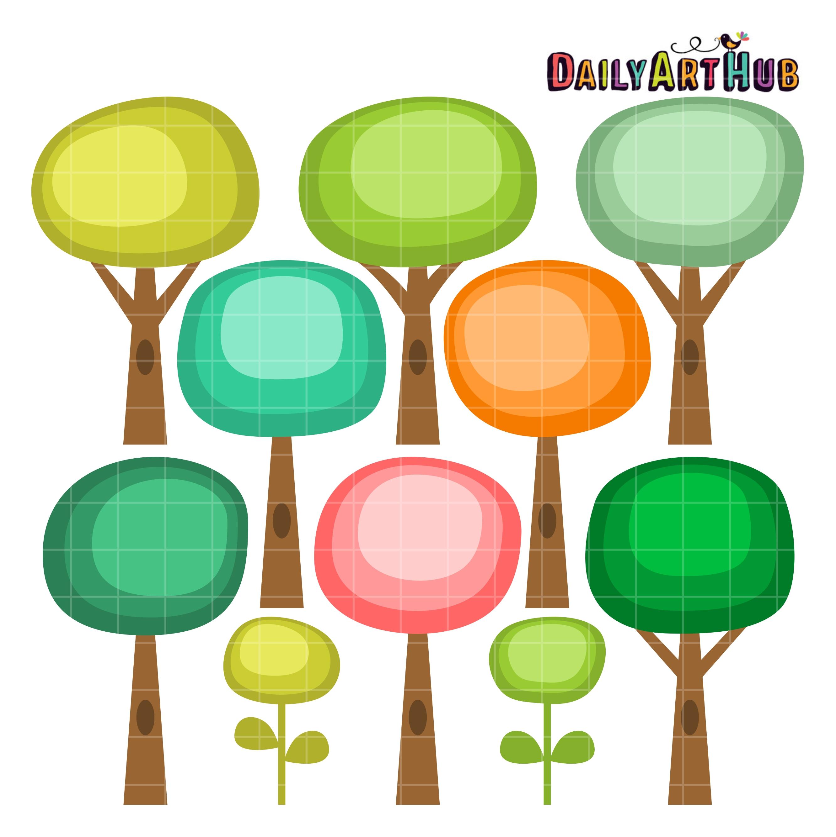 Round Cute Trees Clip Art Set – Daily Art Hub – Free Clip ...