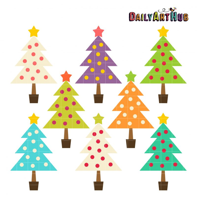 Colorful Plain Christmas Trees