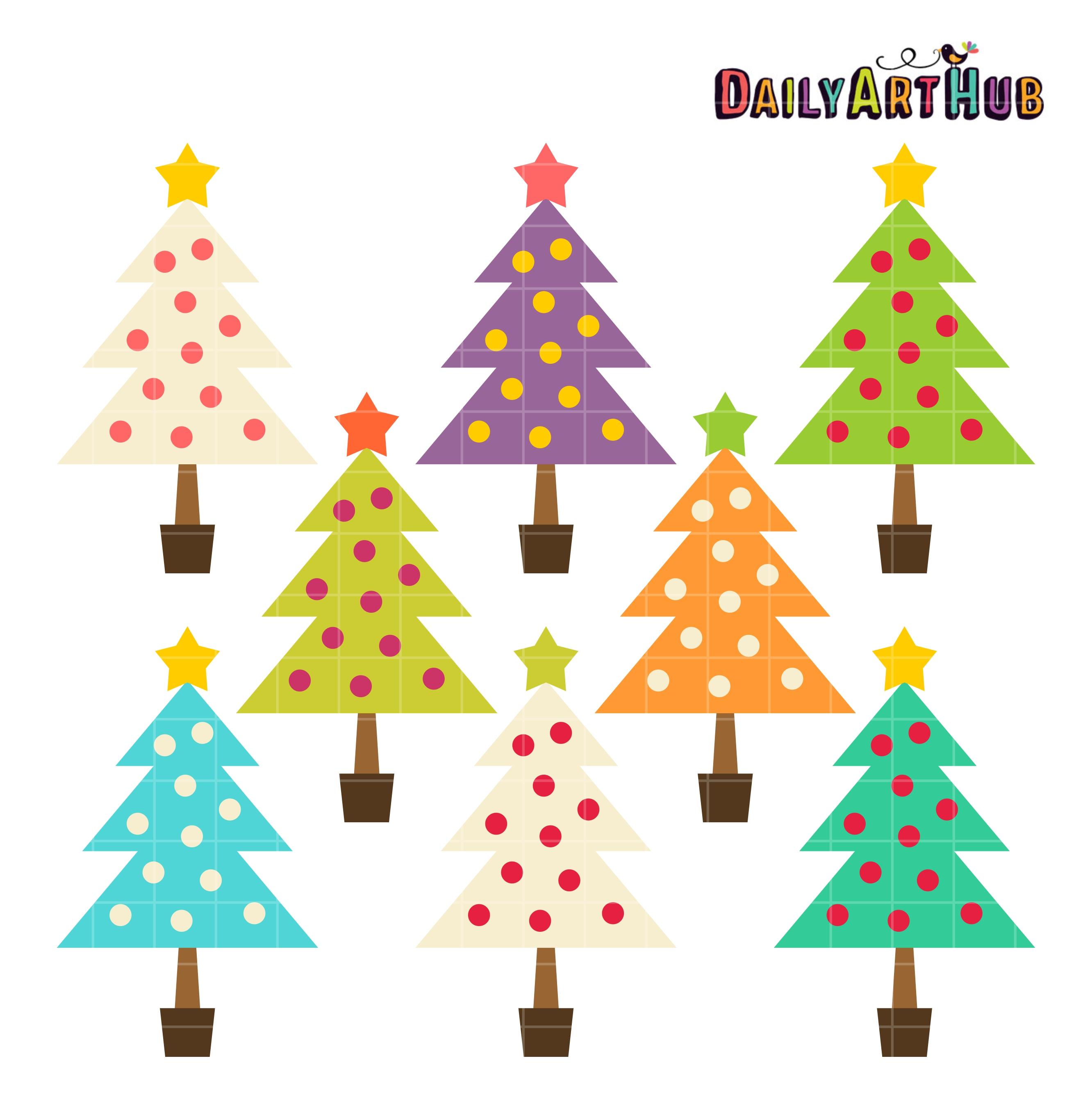 Colorful plain christmas trees clip art set daily