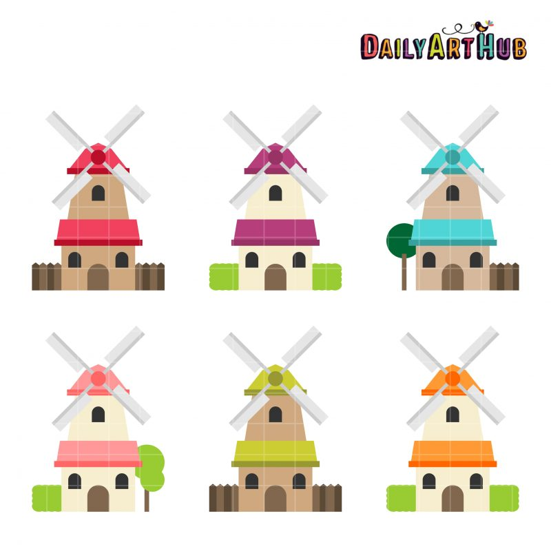 Colorful Windmill Houses