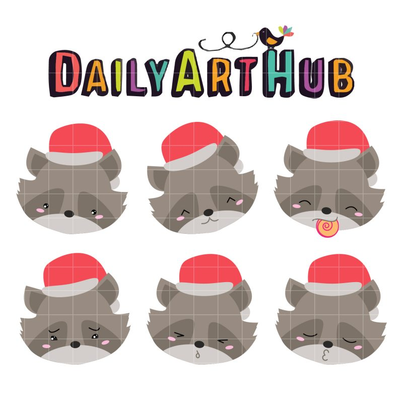Santa Raccoon Emoticons