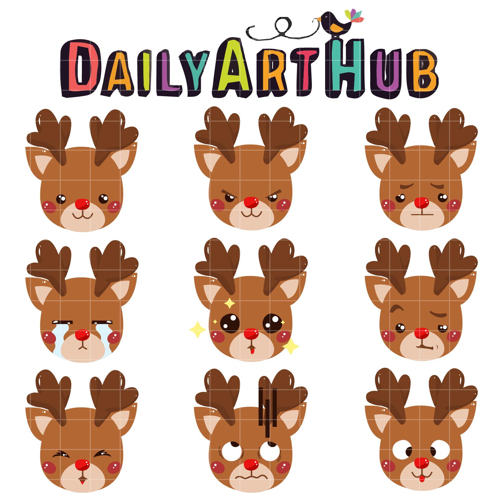 Cute Reindeer Emoticon Clip Art Set – Daily Art Hub – Free ...