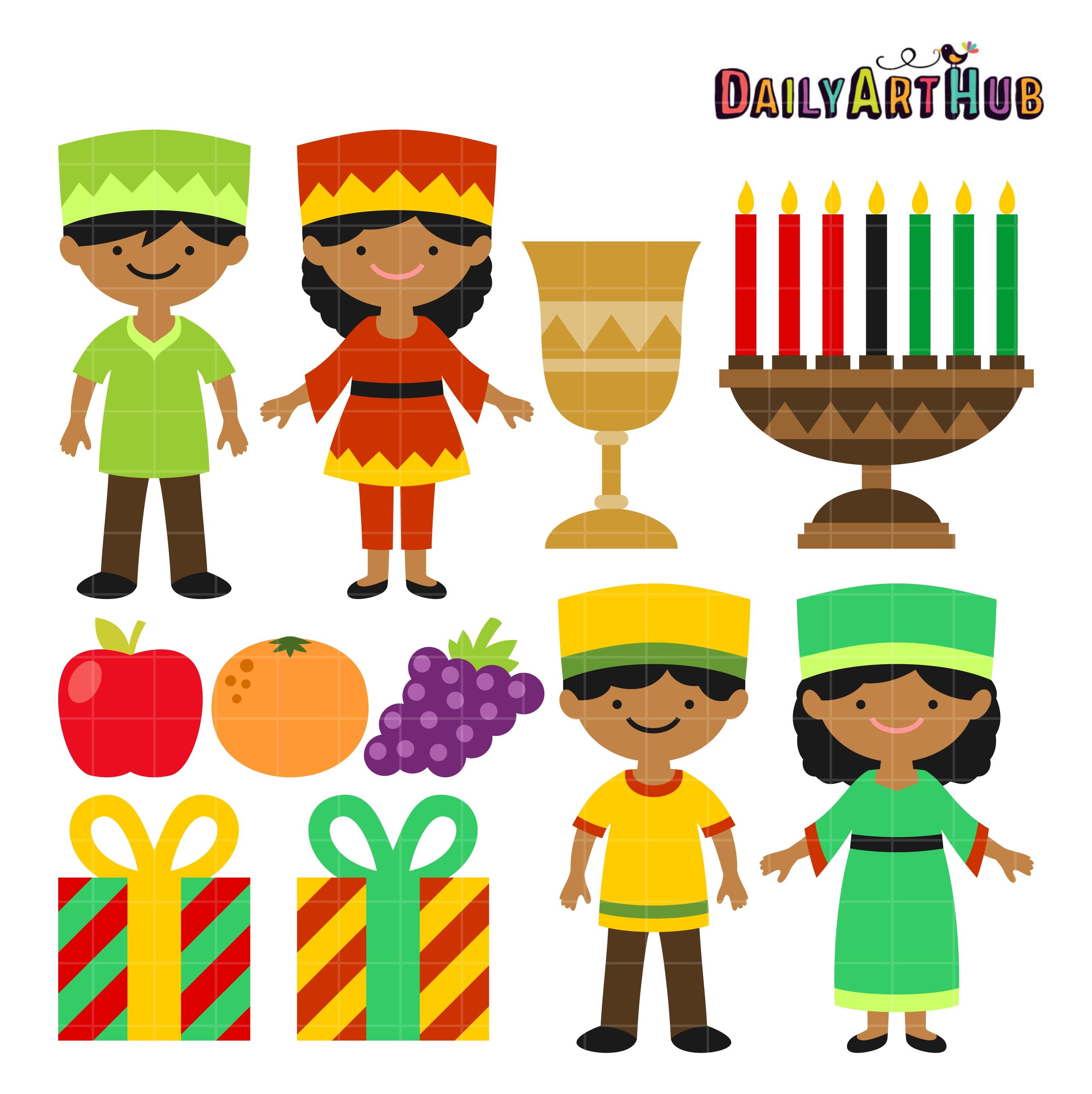happy kwanzaa kids clip art set daily art hub free clip art everyday rh dailyarthub com happy kwanzaa clipart kwanzaa food clipart
