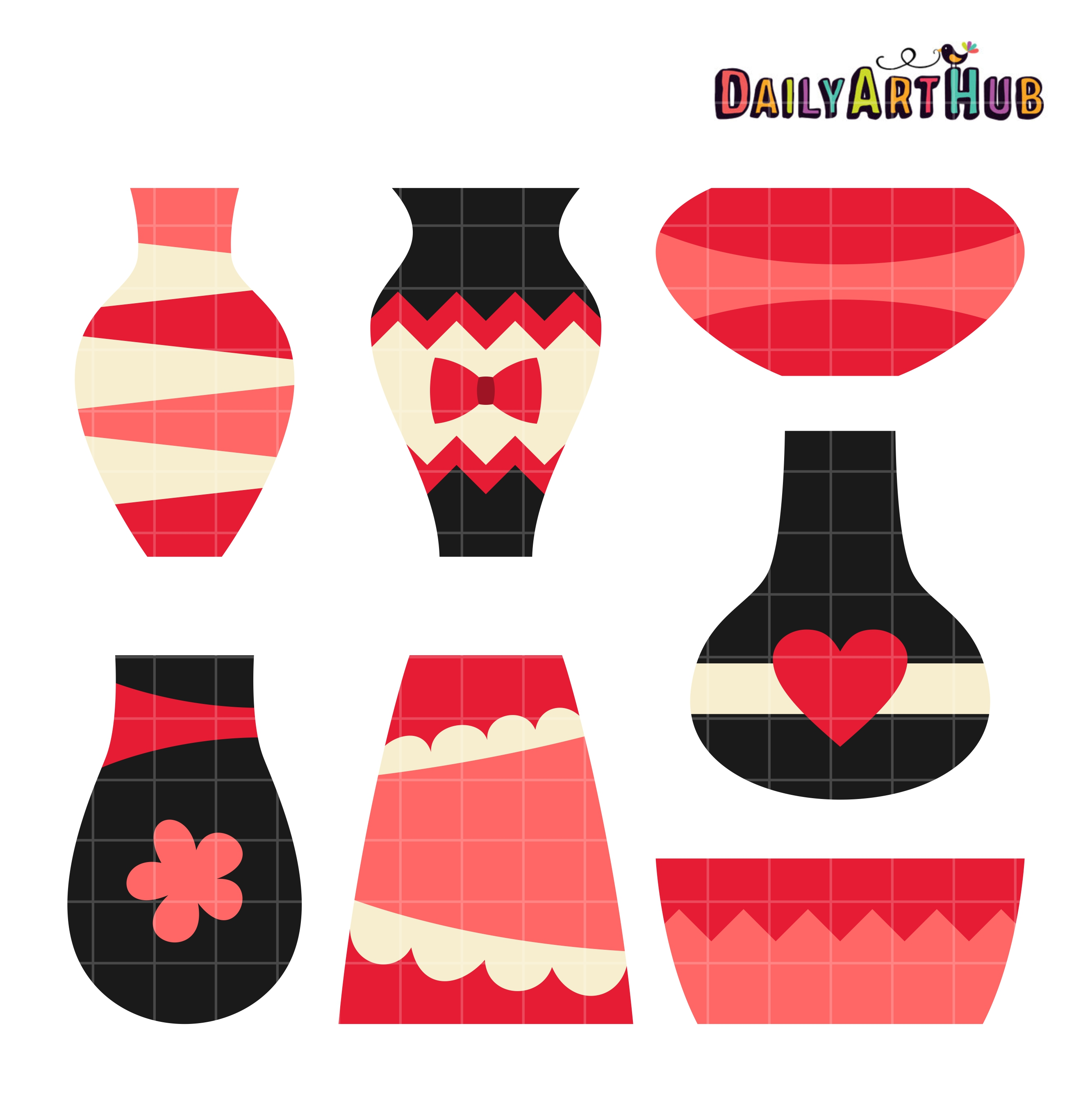 Pretty flower vases clip art set daily art hub pretty flower vases dhlflorist Image collections