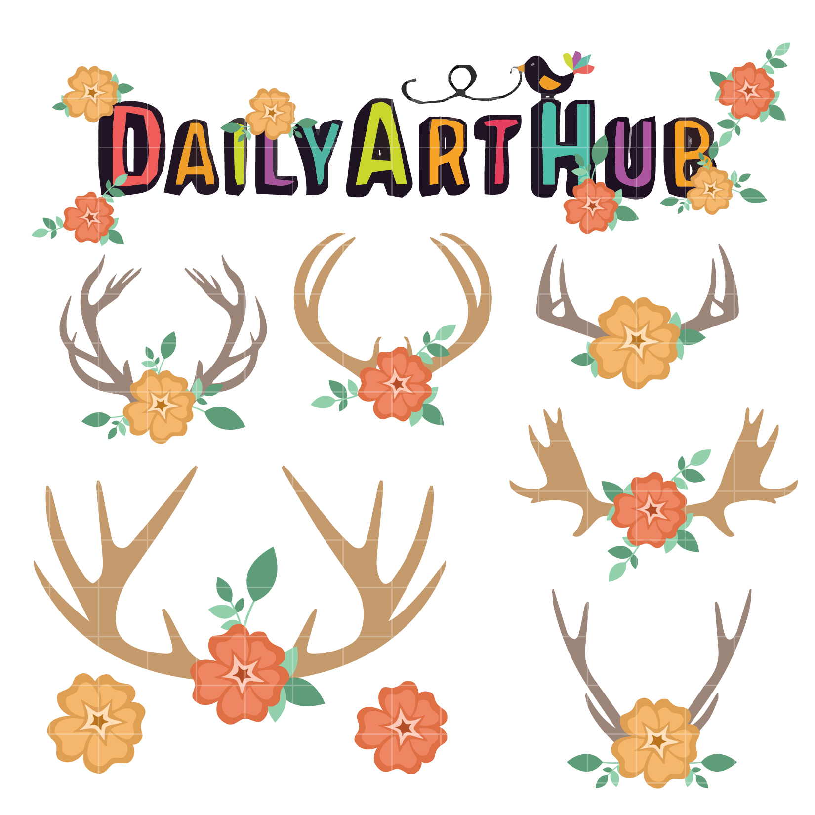 Antlers And Flowers Clip Art Set – Daily Art Hub – Free ...