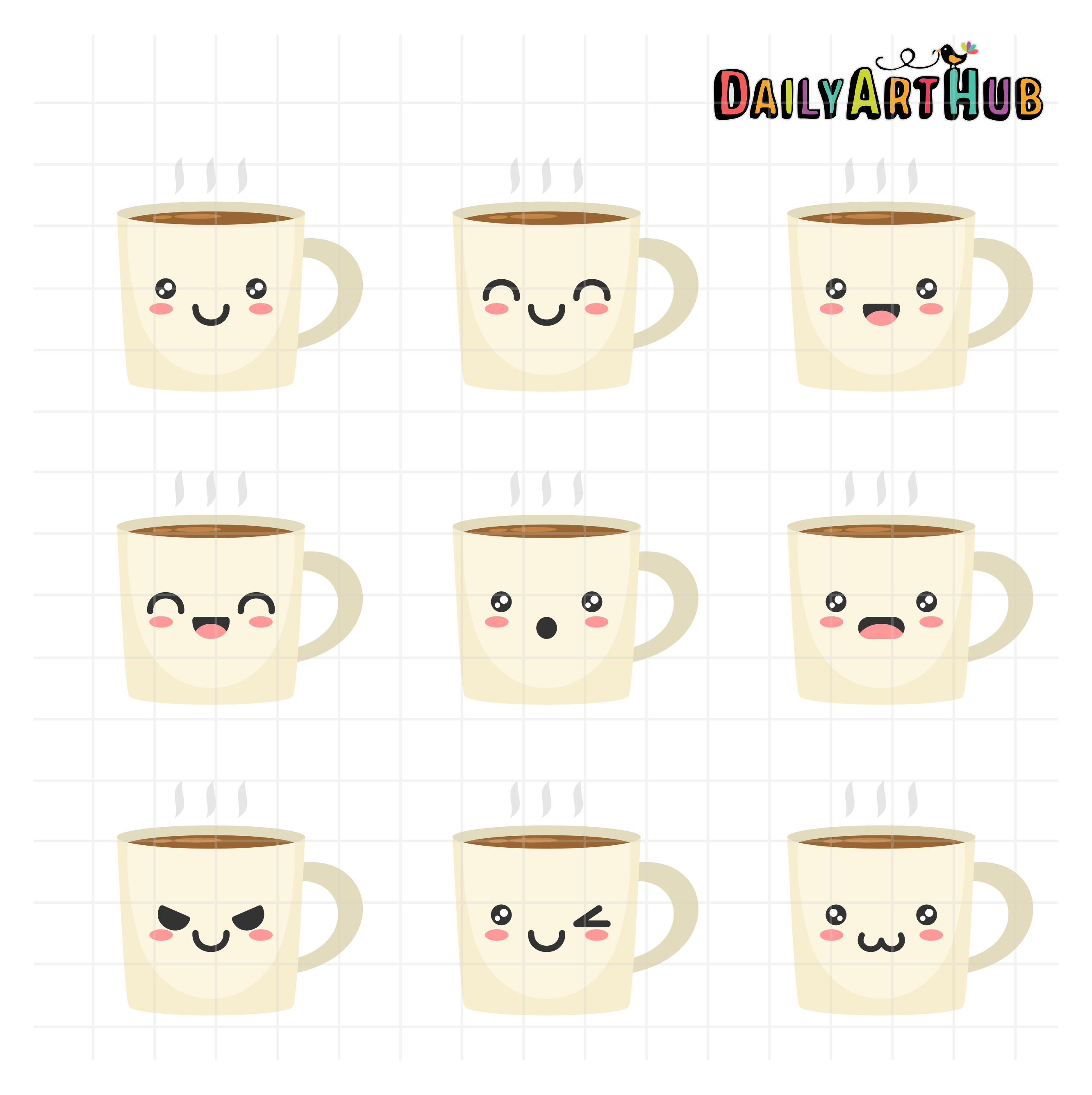 Coffee Mug Kawaii Face Icon Cute Stock Vector 483720049 ...