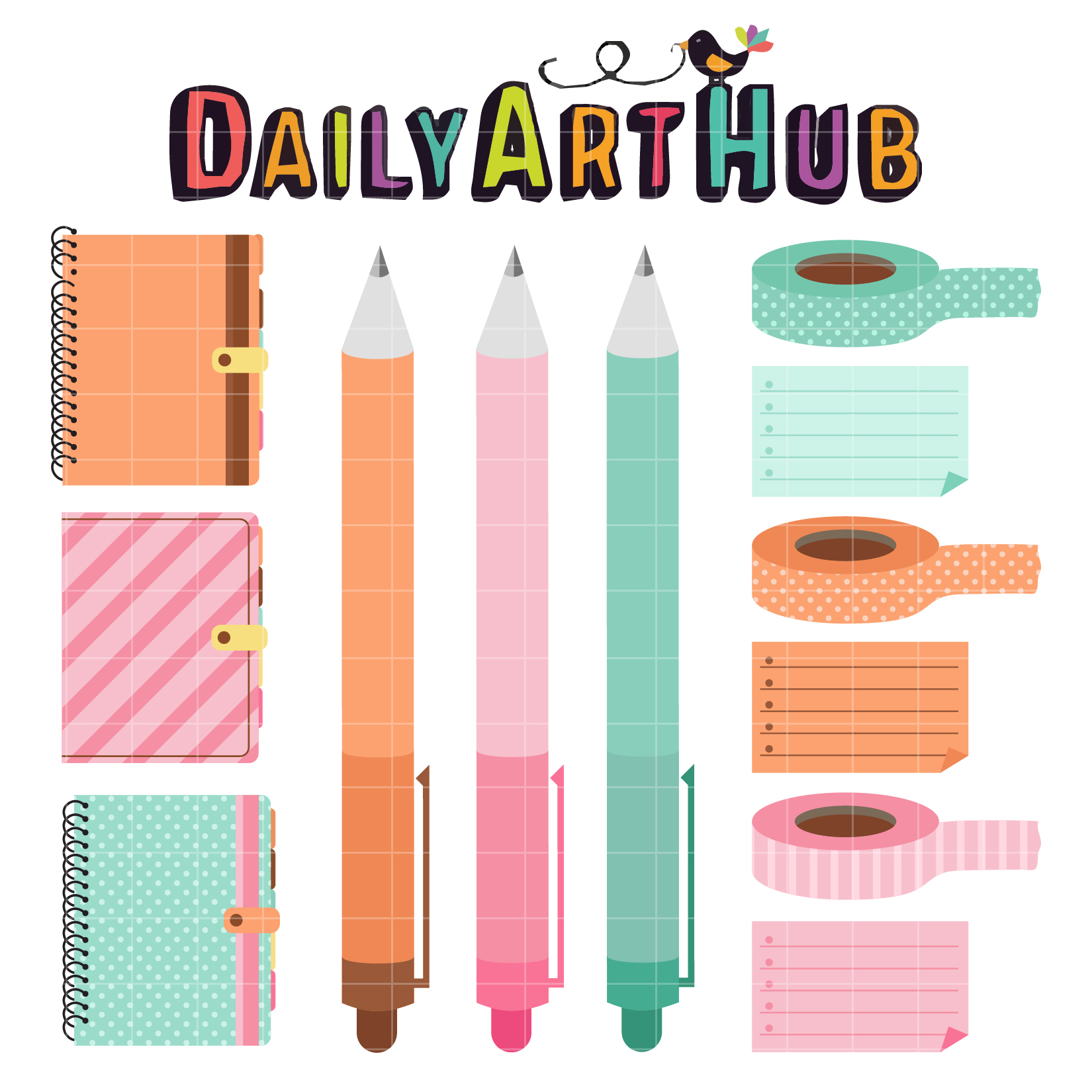 Daily Calendar Clipart : Colorful planner clip art set daily hub free
