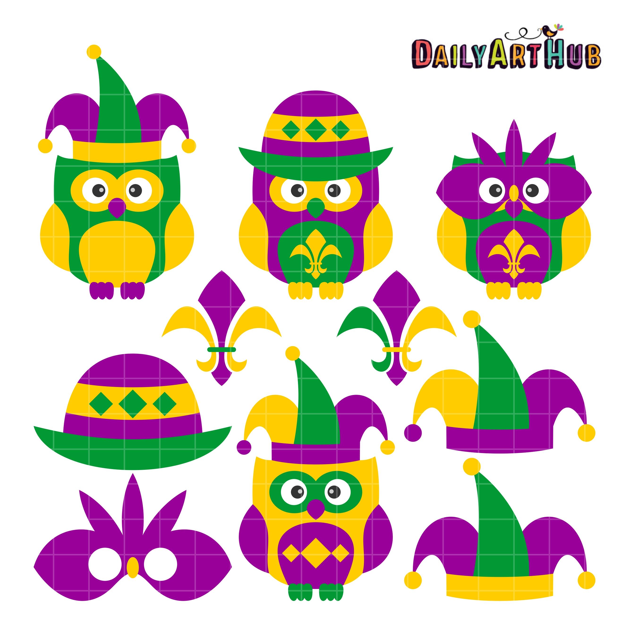 mardi gras owls clip art set $ 2 99 mardi gras owls clip art set add ...