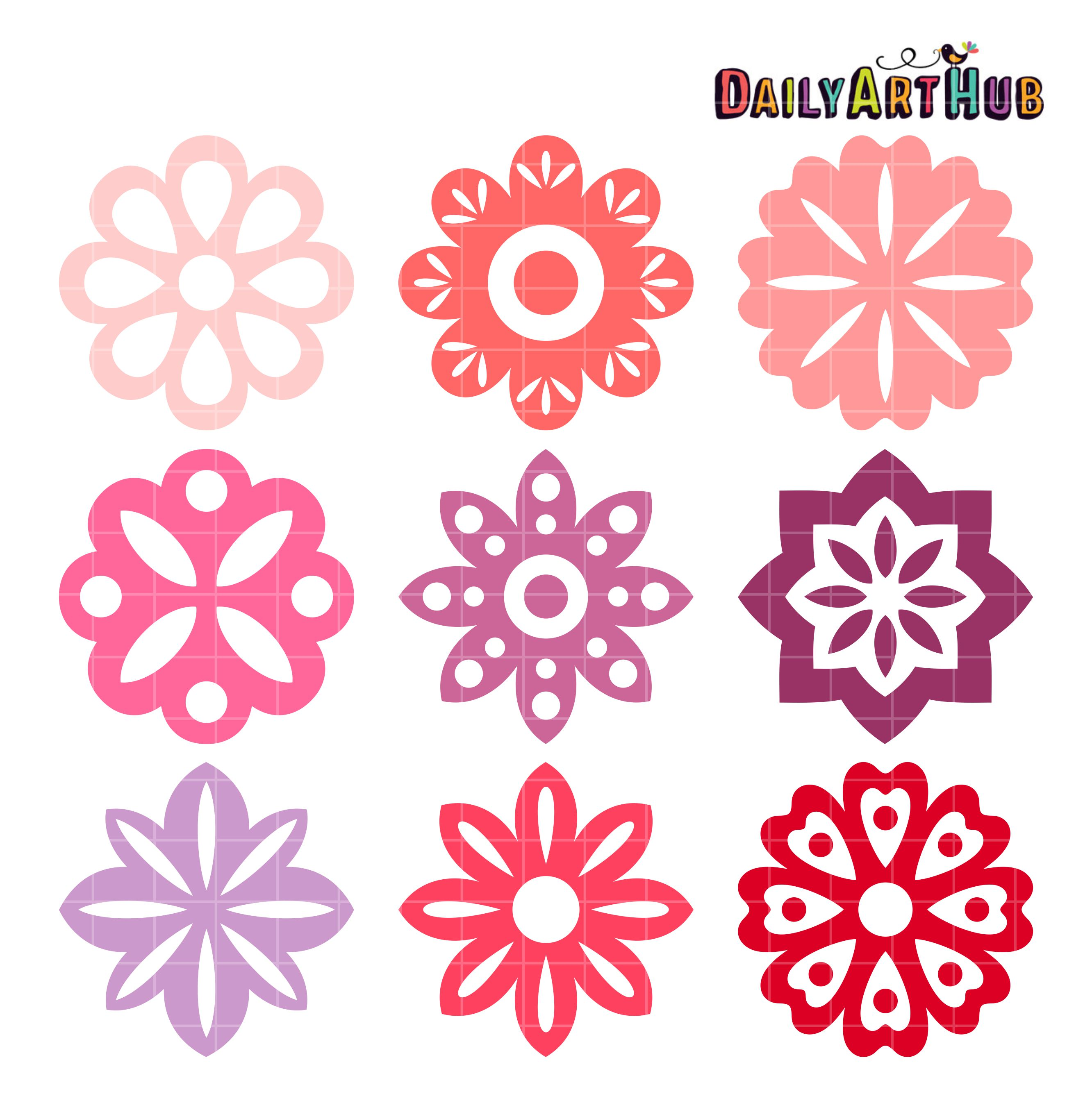 Simple Flower Shapes Clip Art Set – Daily Art Hub – Free ...