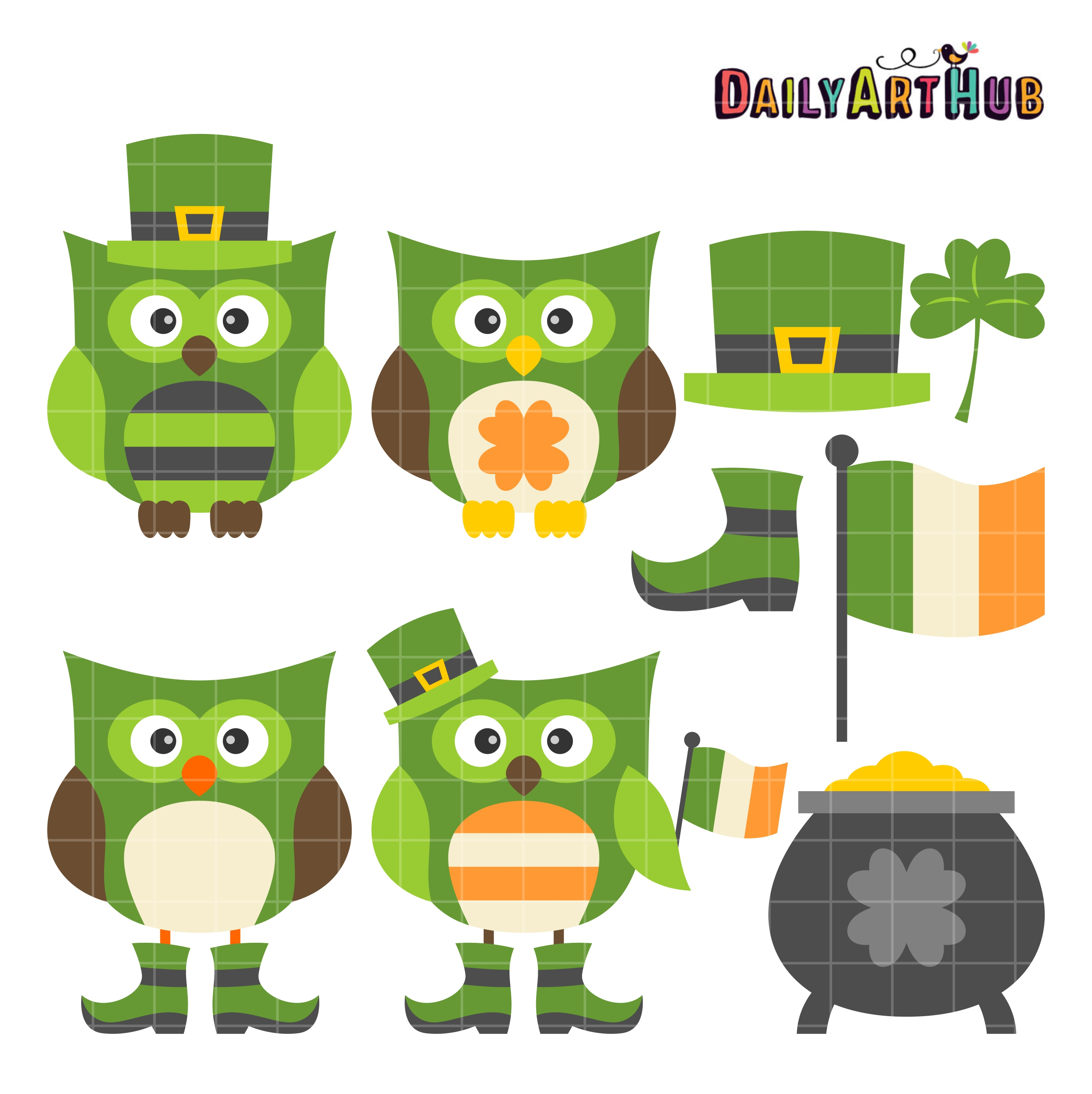 st patrick s day owls clip art set daily art hub free clip art