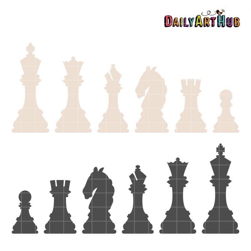 Chess Pieces Clip Art Set Daily Art Hub