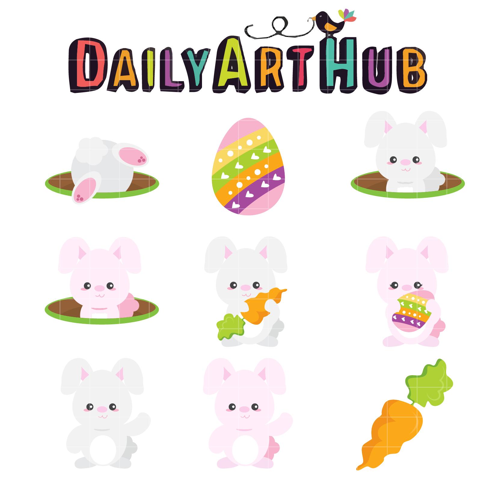 Cute Easter Bunny Clip Art Set | Daily Art Hub