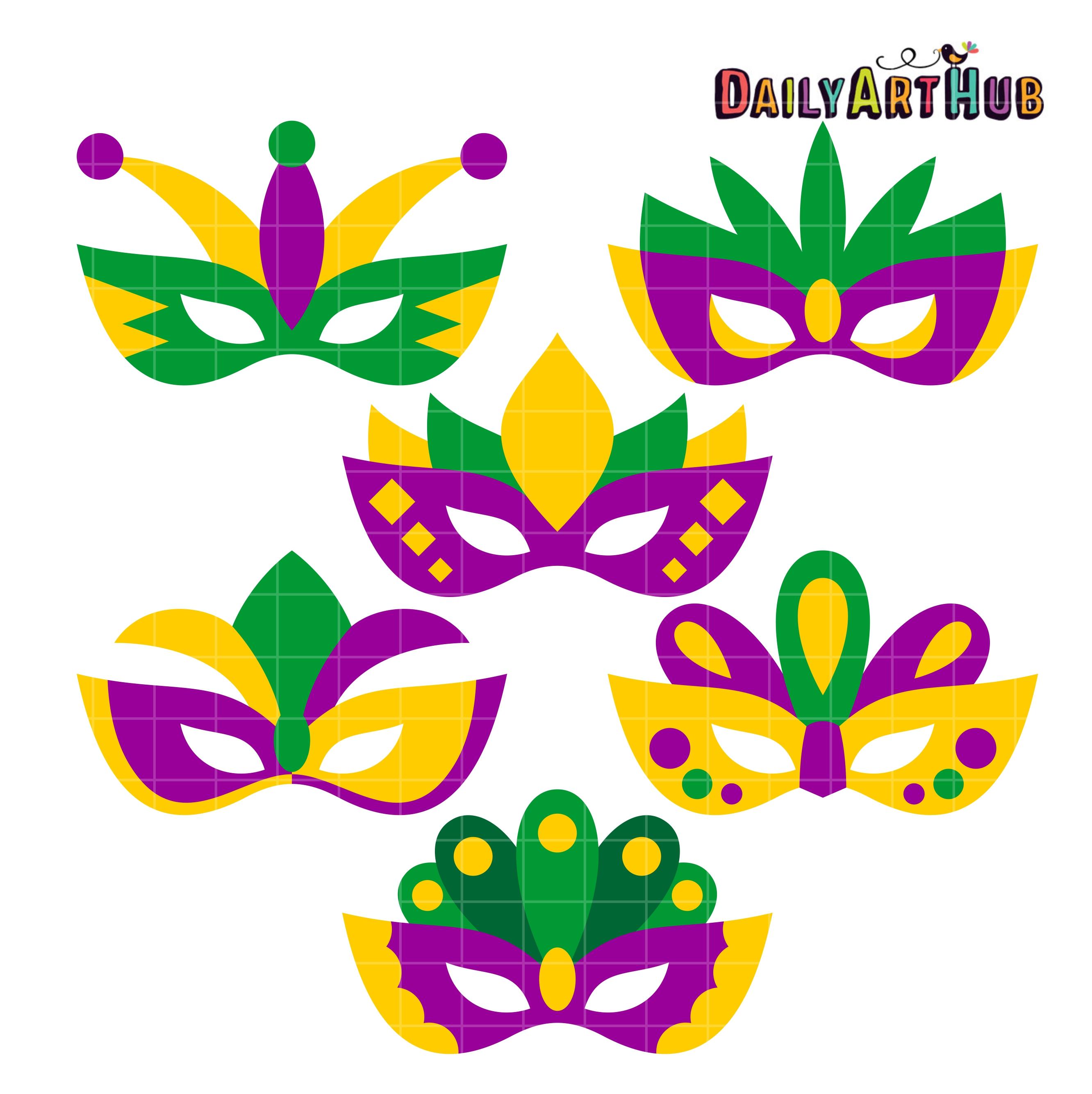 Mardi Gras Masks Clip Art Set | Daily Art Hub