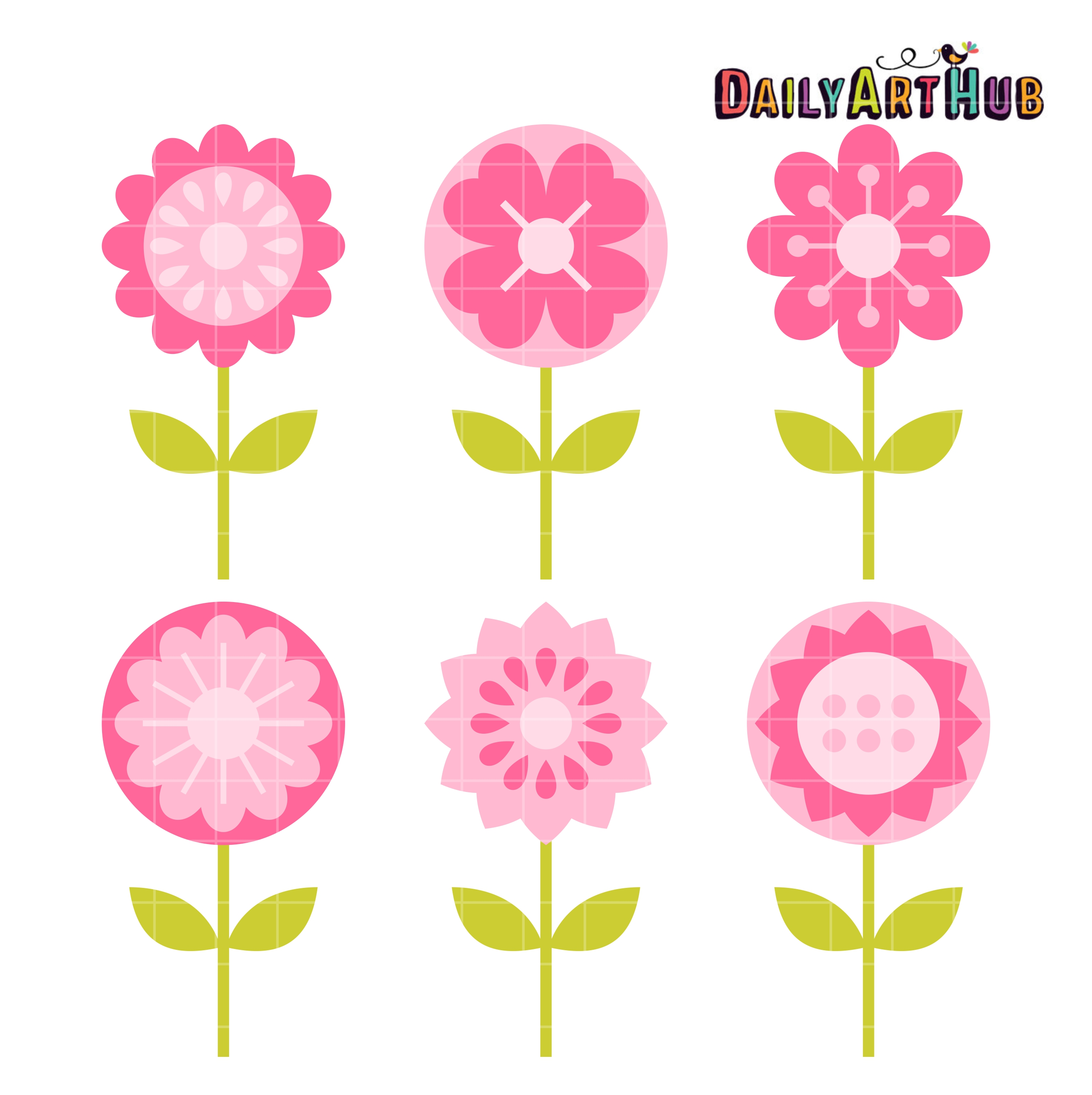 Pink flowers clip art set daily art hub free clip art everyday pink flowers clip art set mightylinksfo Choice Image
