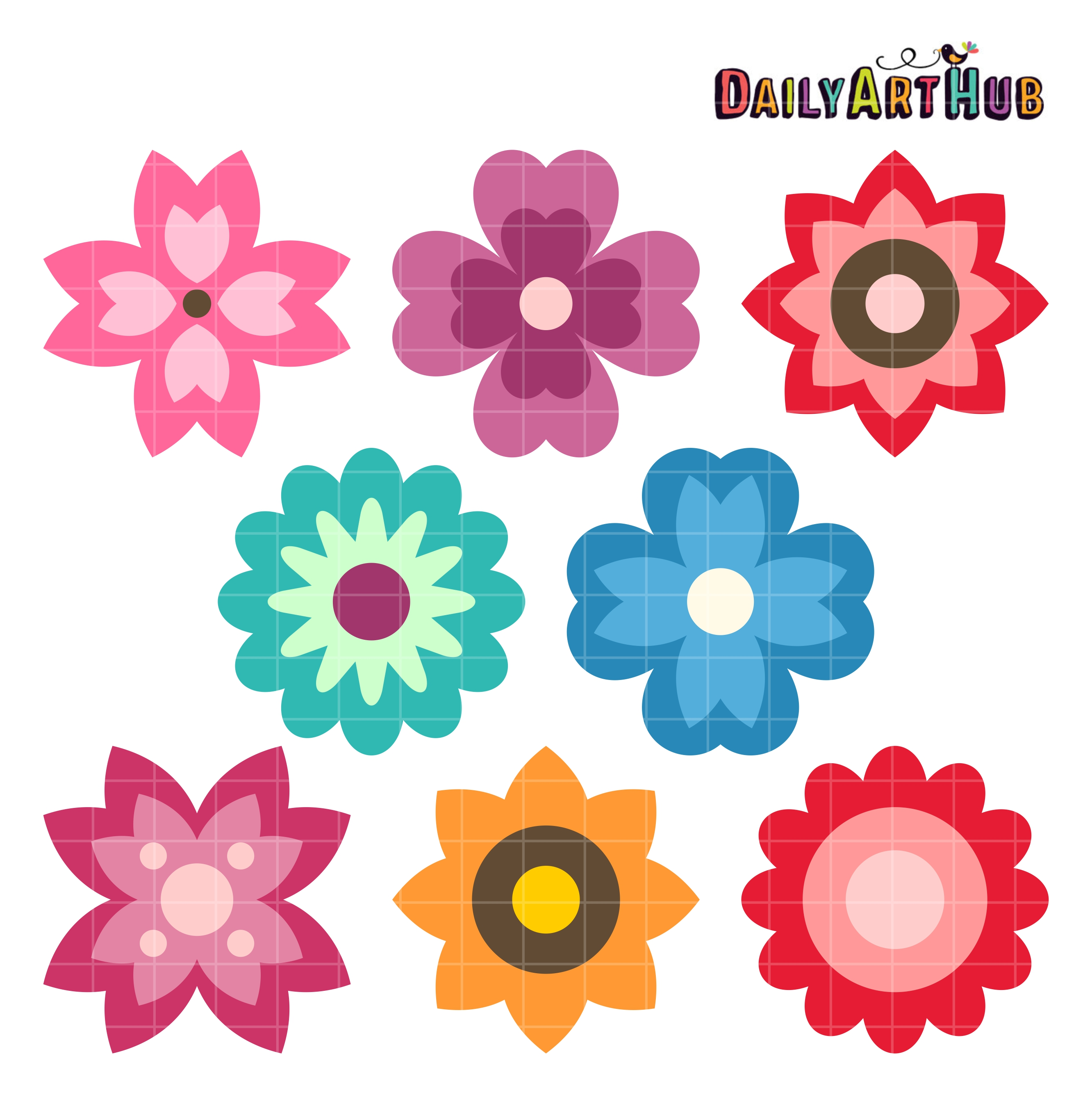Simple Spring Flowers Clip Art Set Daily Art Hub Free Clip Art