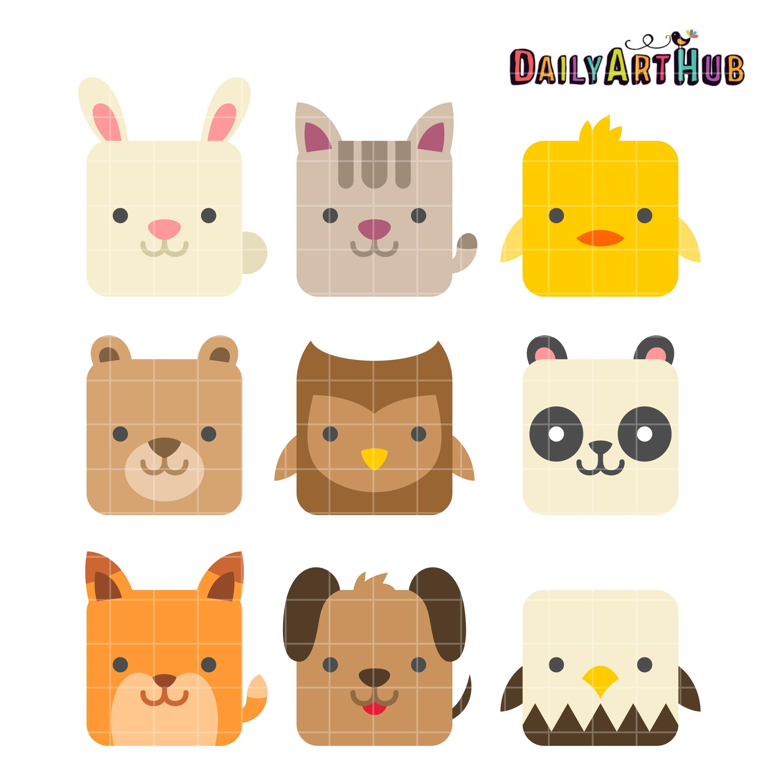 square cute animals clip art set daily art hub free clip art rh dailyarthub com cute animal clipart cute animals clipart