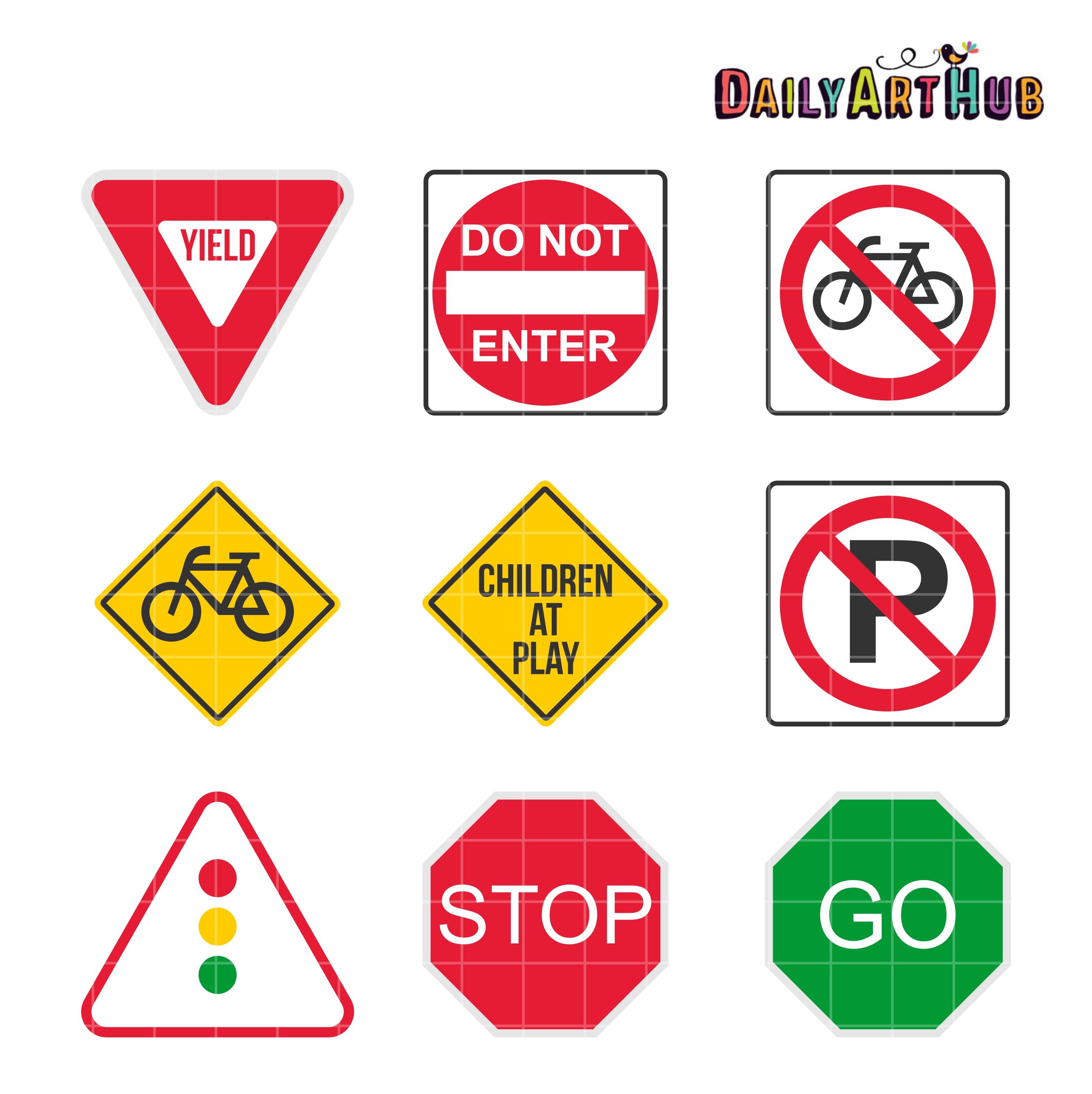 9 Road Signs Clip Art Set   Daily Art Hub