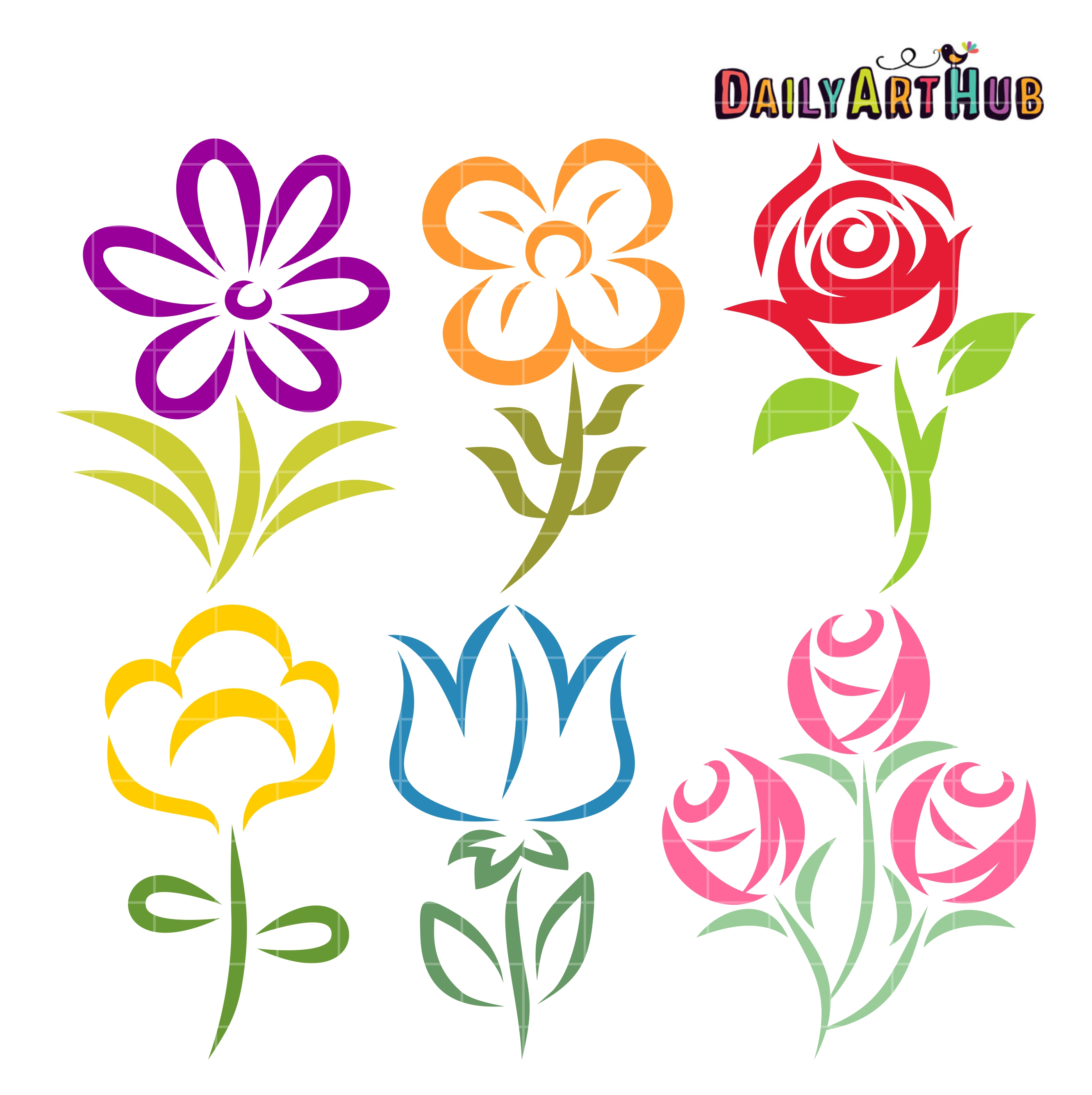 Beautiful Flower Shapes Clip Art Set Daily Art Hub