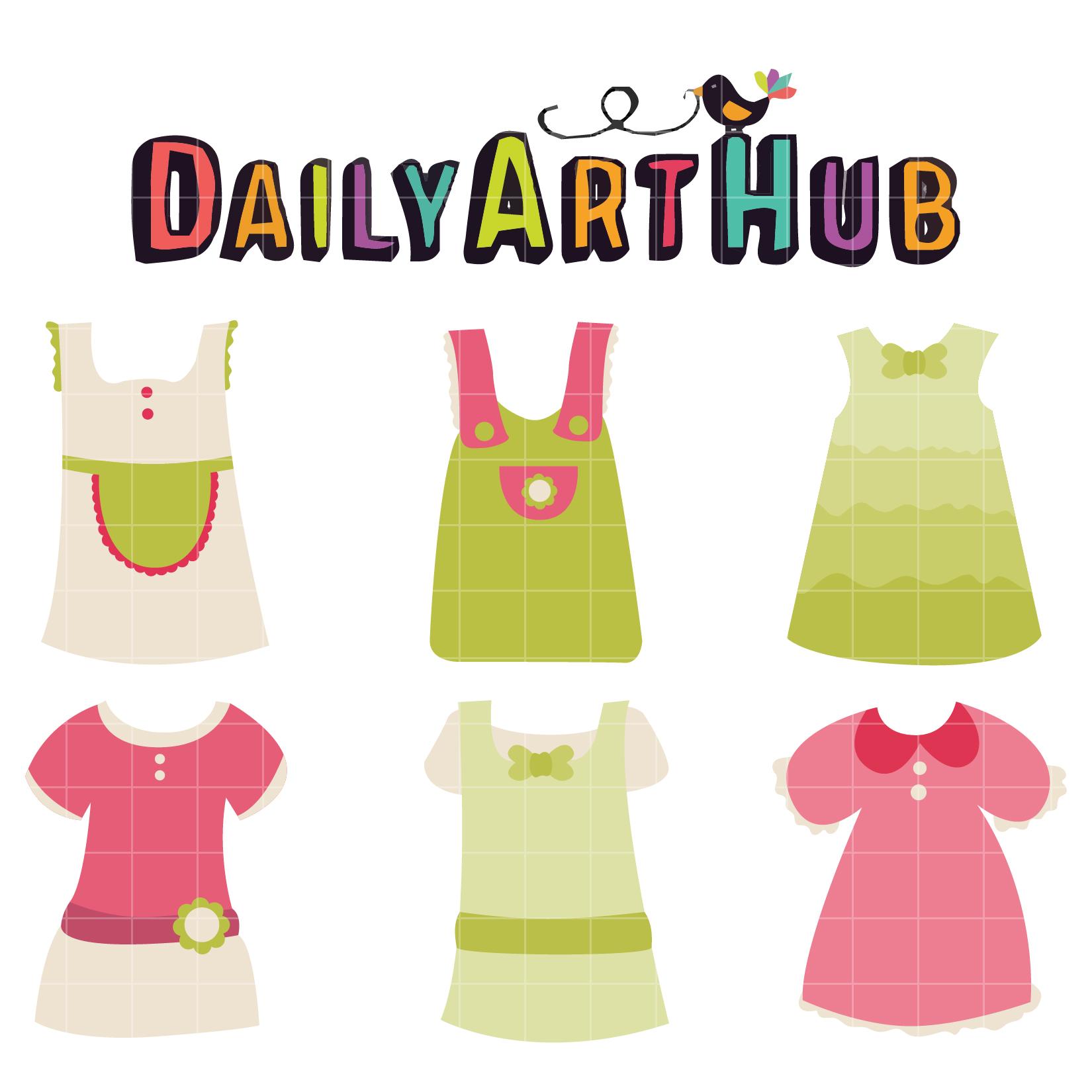 cute baby girl dress clip art set daily art hub free clip art rh dailyarthub com Baby Girl Angel Clip Art Baby Girl Shower Clip Art