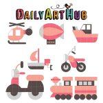 Cute Simple Transportation Vehicles