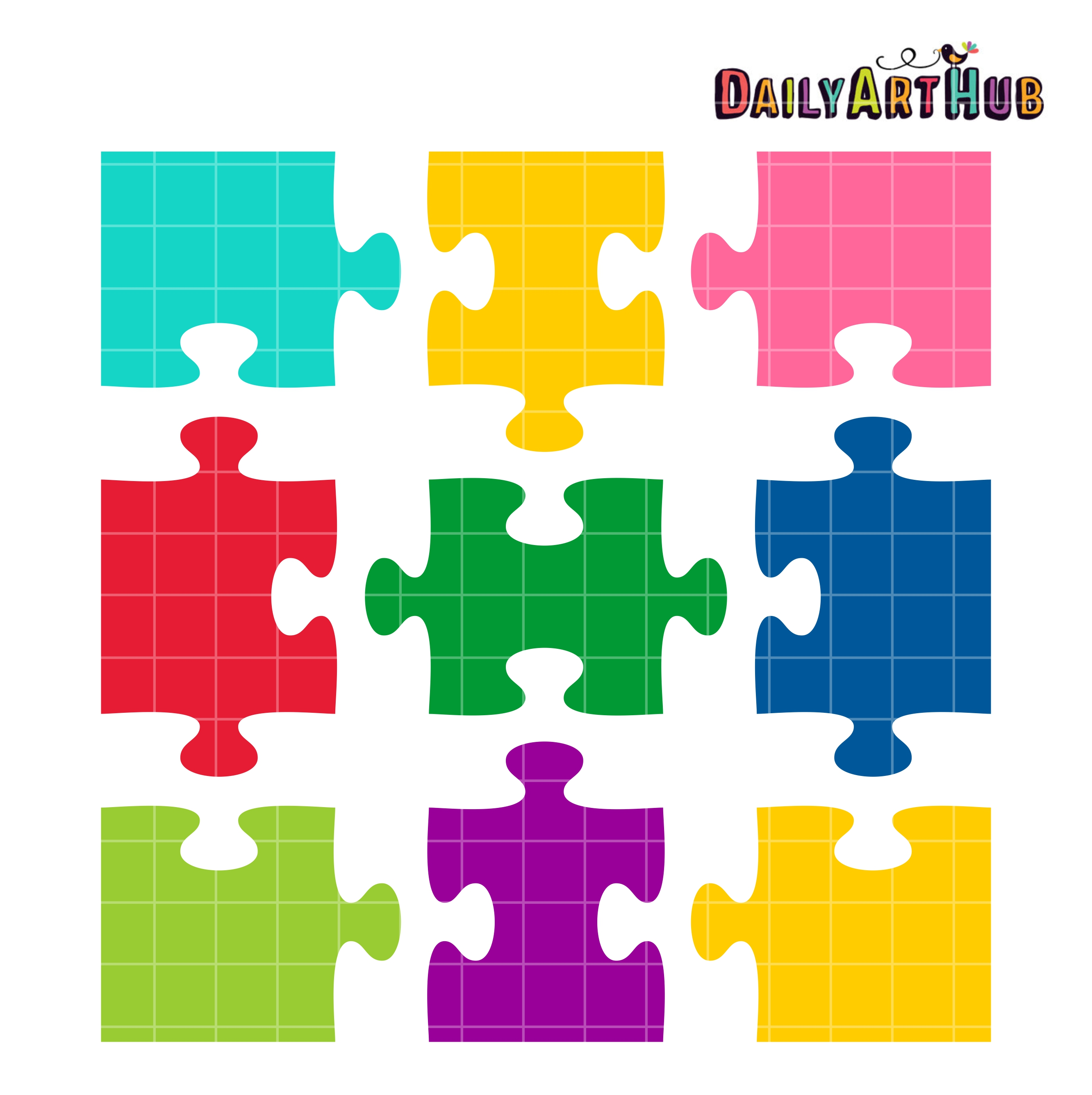 Jigsaw Puzzle Shapes Clip Art Set Daily Hub Free