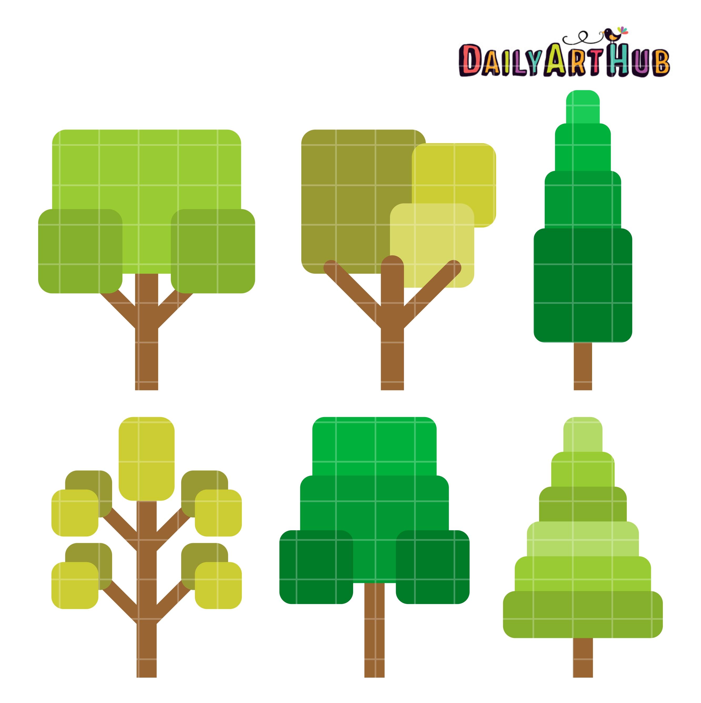 Simple Cute Trees Clip Art Set – Daily Art Hub – Free Clip ...