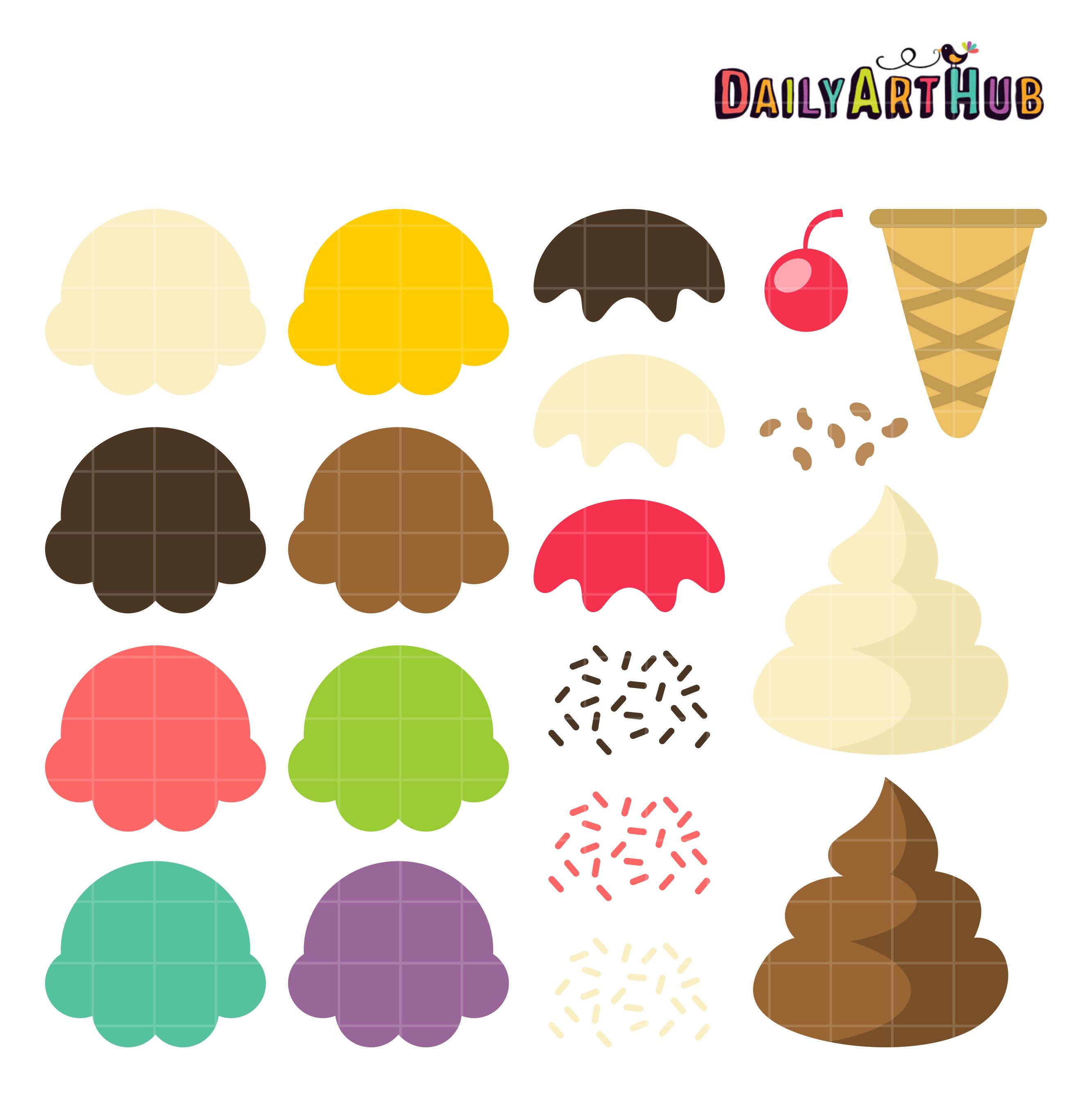 Your Ice Cream Cone Clip Art Set | Daily Art Hub