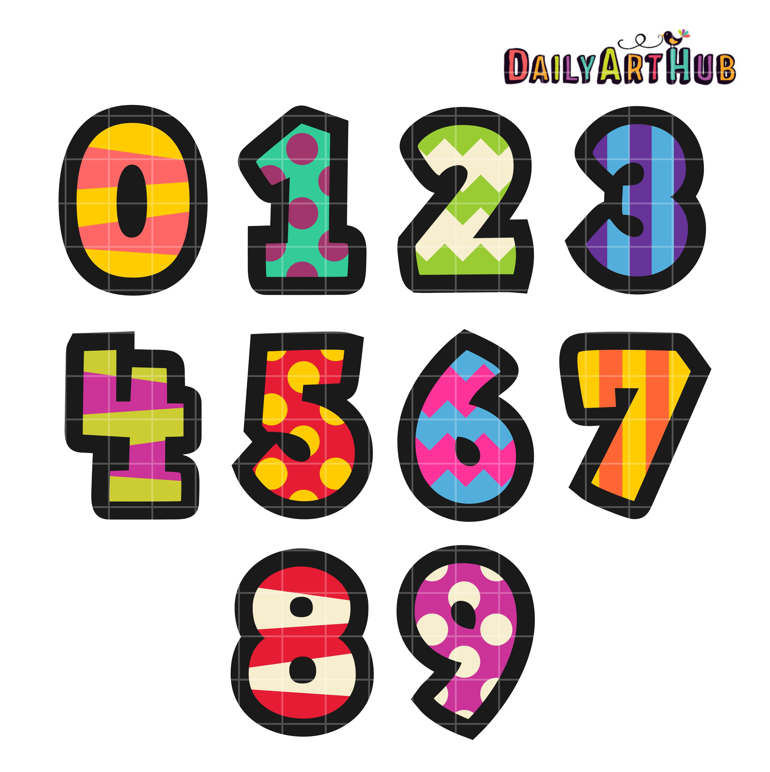 Cartoony numbers clip art set daily art hub free clip art everyday for Free clipart numbers