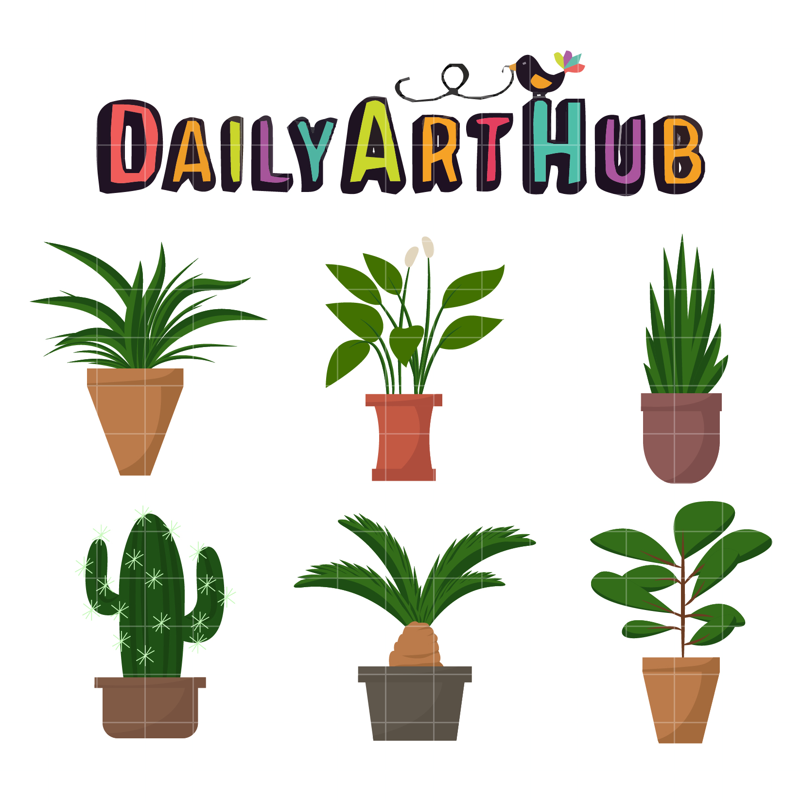 Decorative House Plants Clip Art Set Daily Art Hub Free Clip
