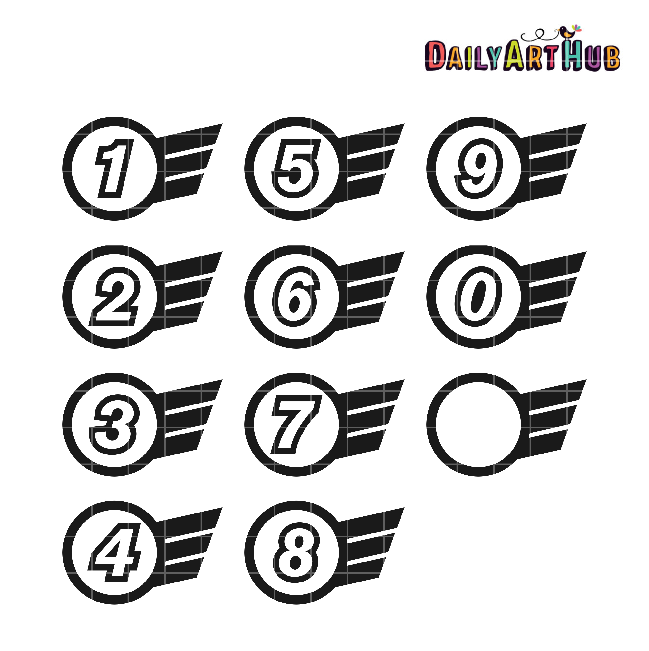Racing Numbers Clip Art Set