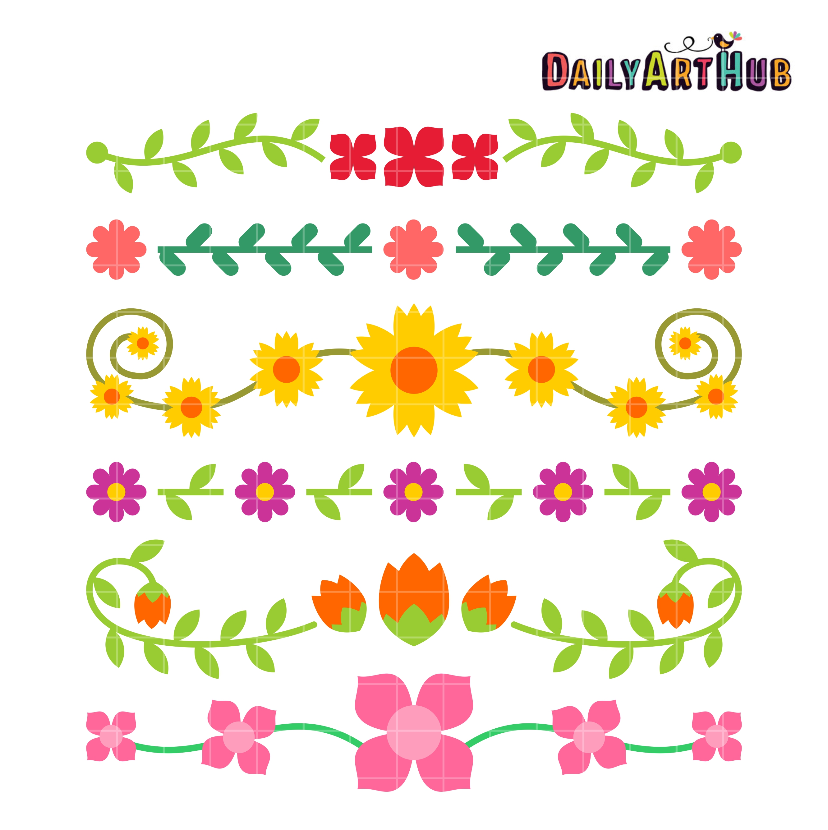 Simple Flower Borders Clip Art Set – Daily Art Hub – Free ...