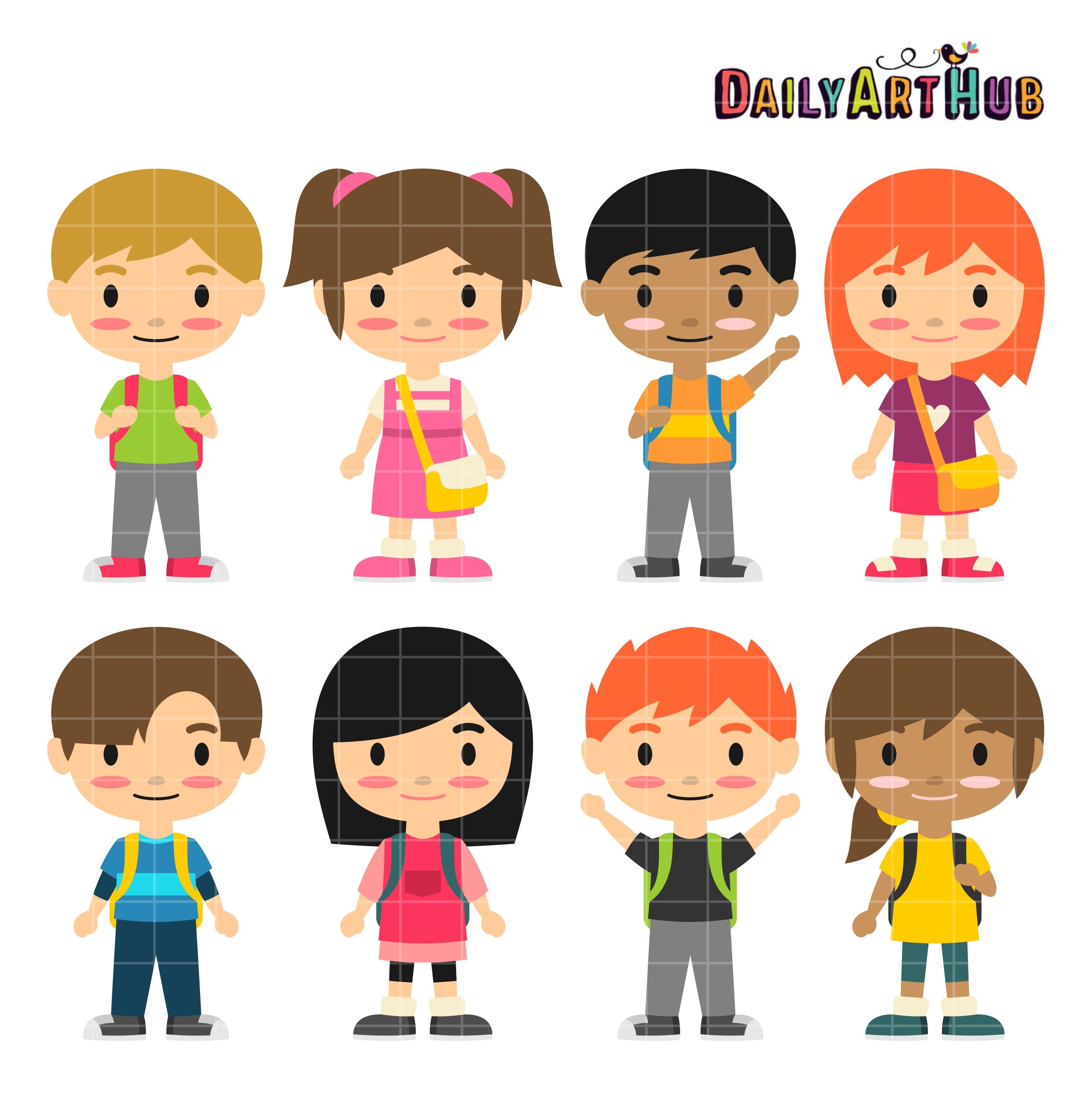 cute school kids clip art set daily art hub free clip art everyday rh dailyarthub com Cute Food Clip Art Cute Black and White Clip Art