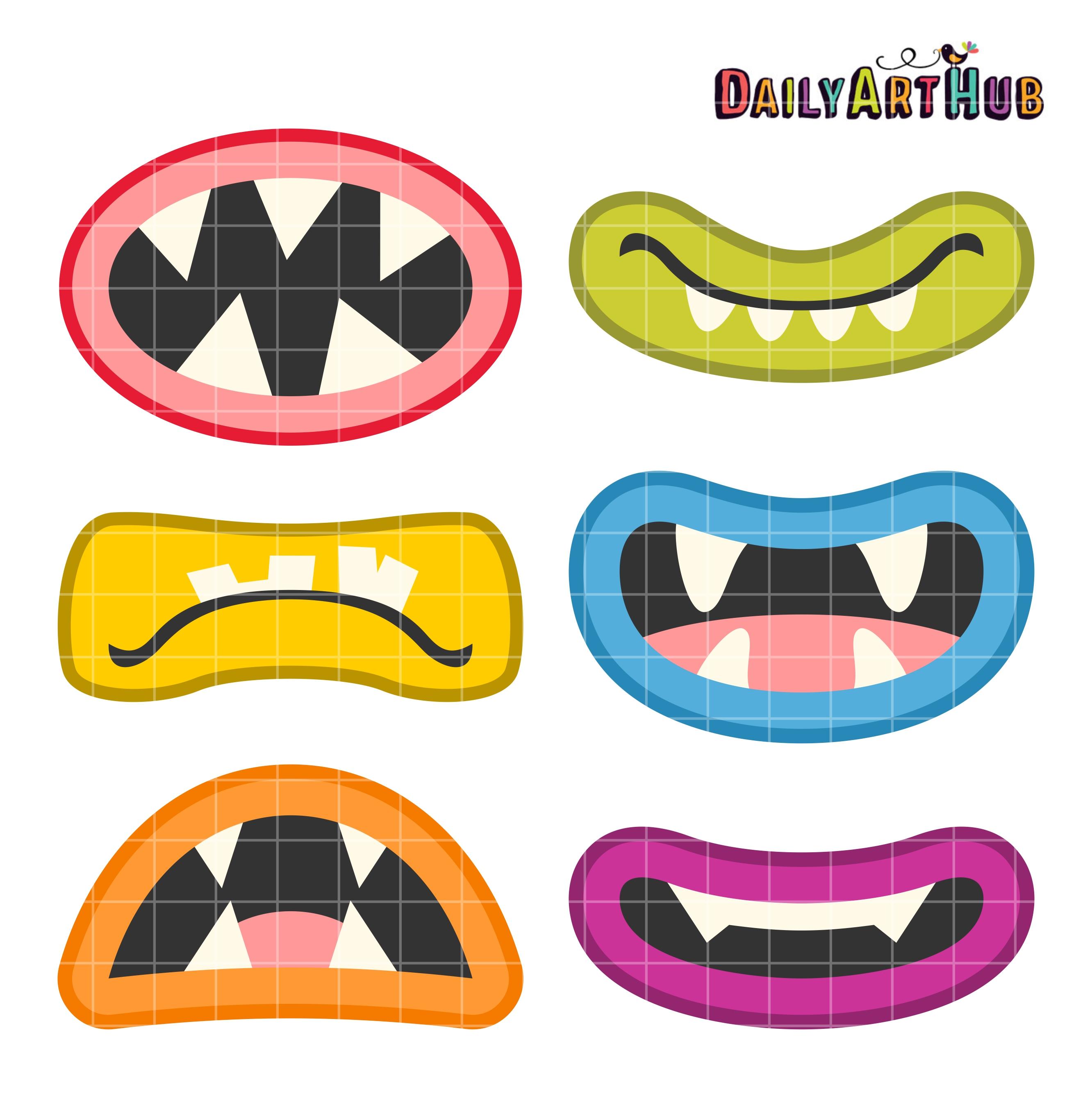 Monster Mouth Clip Art Set | Daily Art Hub