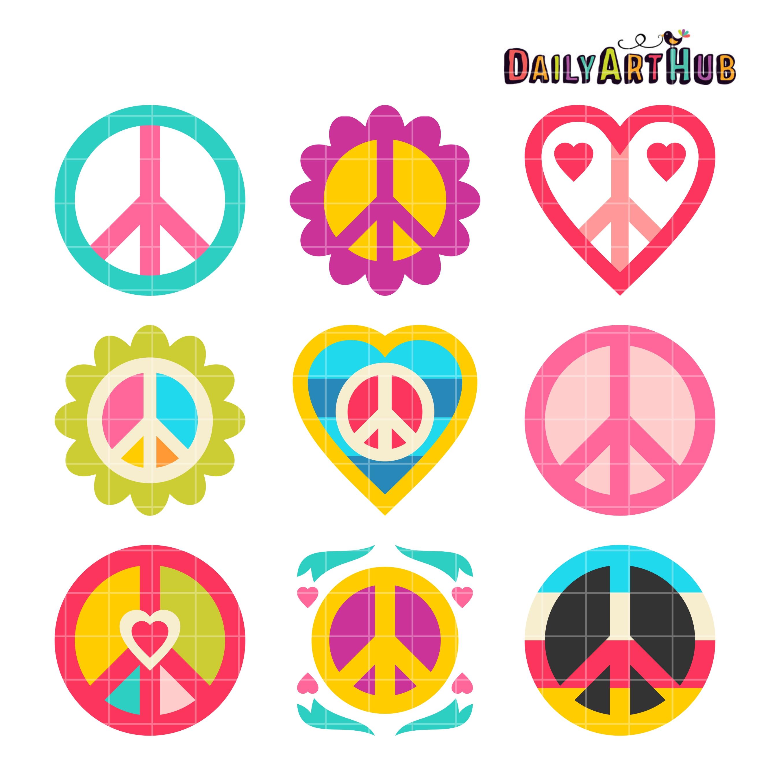 Love and peace clip art set daily art hub free clip art everyday love and peace clip art set voltagebd Choice Image