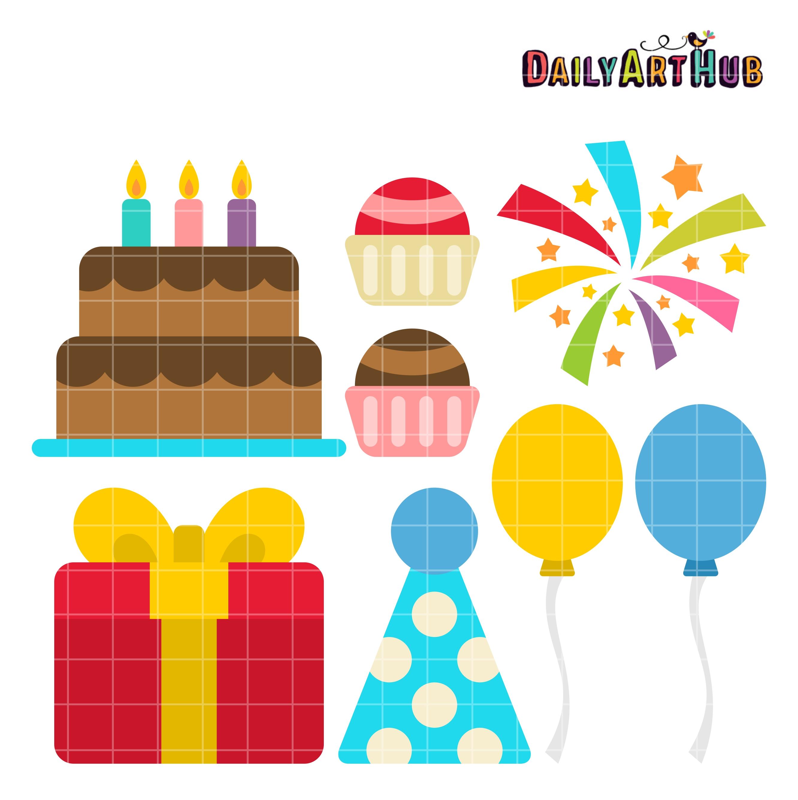 Free birthday things : Birthday things clip art set daily hub free