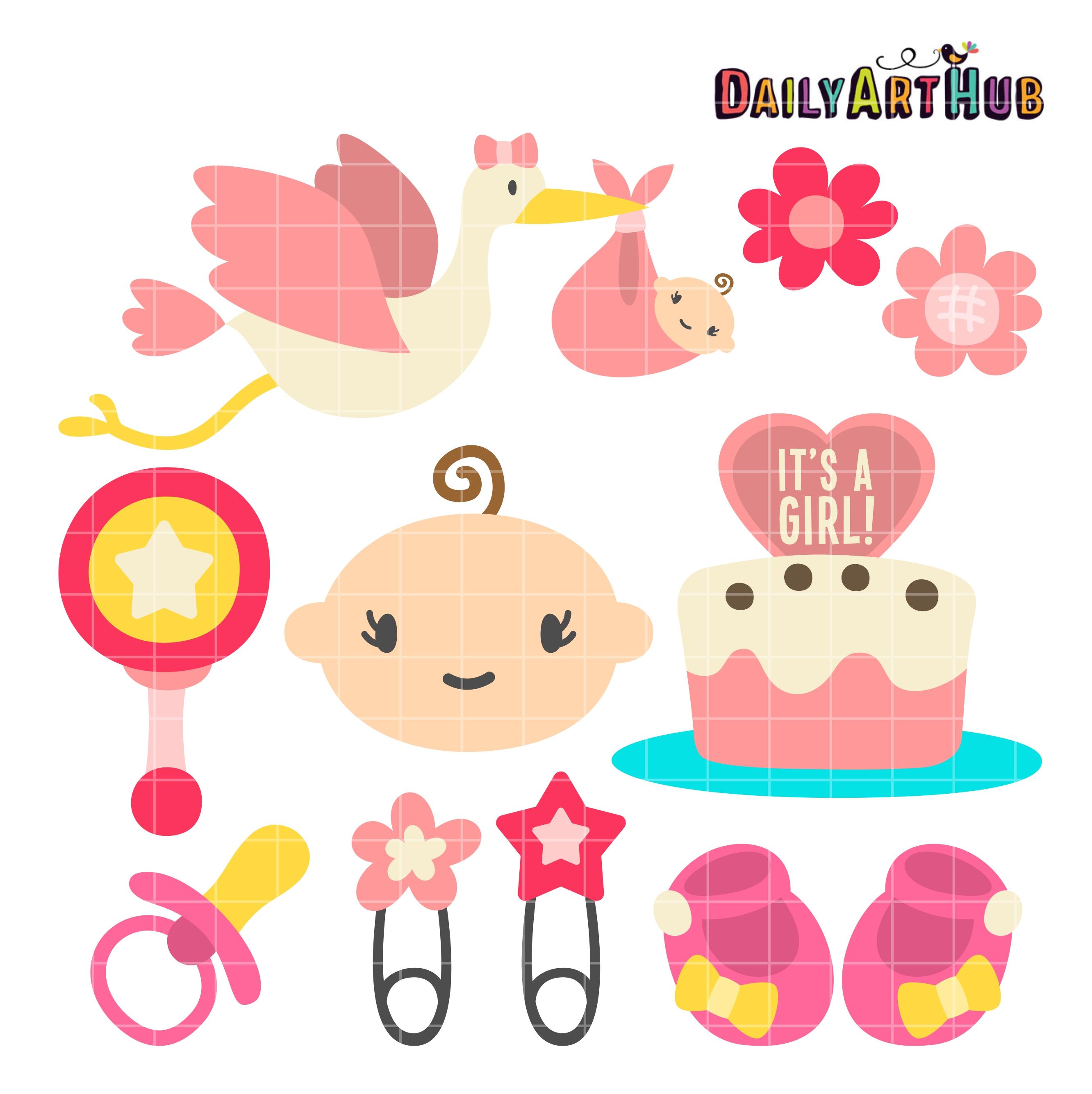 Girl Baby Shower Clip Art Set