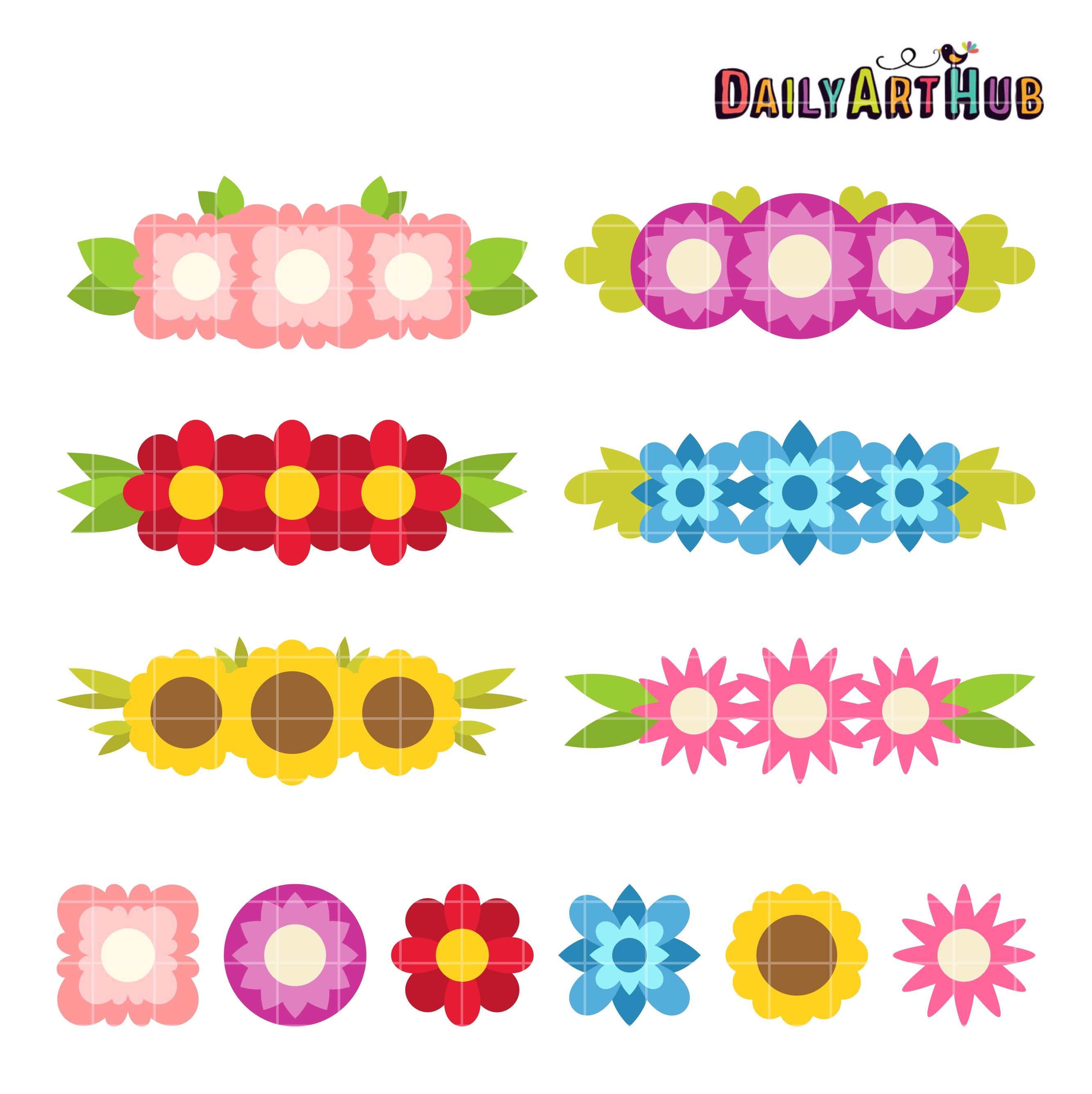 Simple Flower Crowns Clip Art Set – Daily Art Hub – Free ...