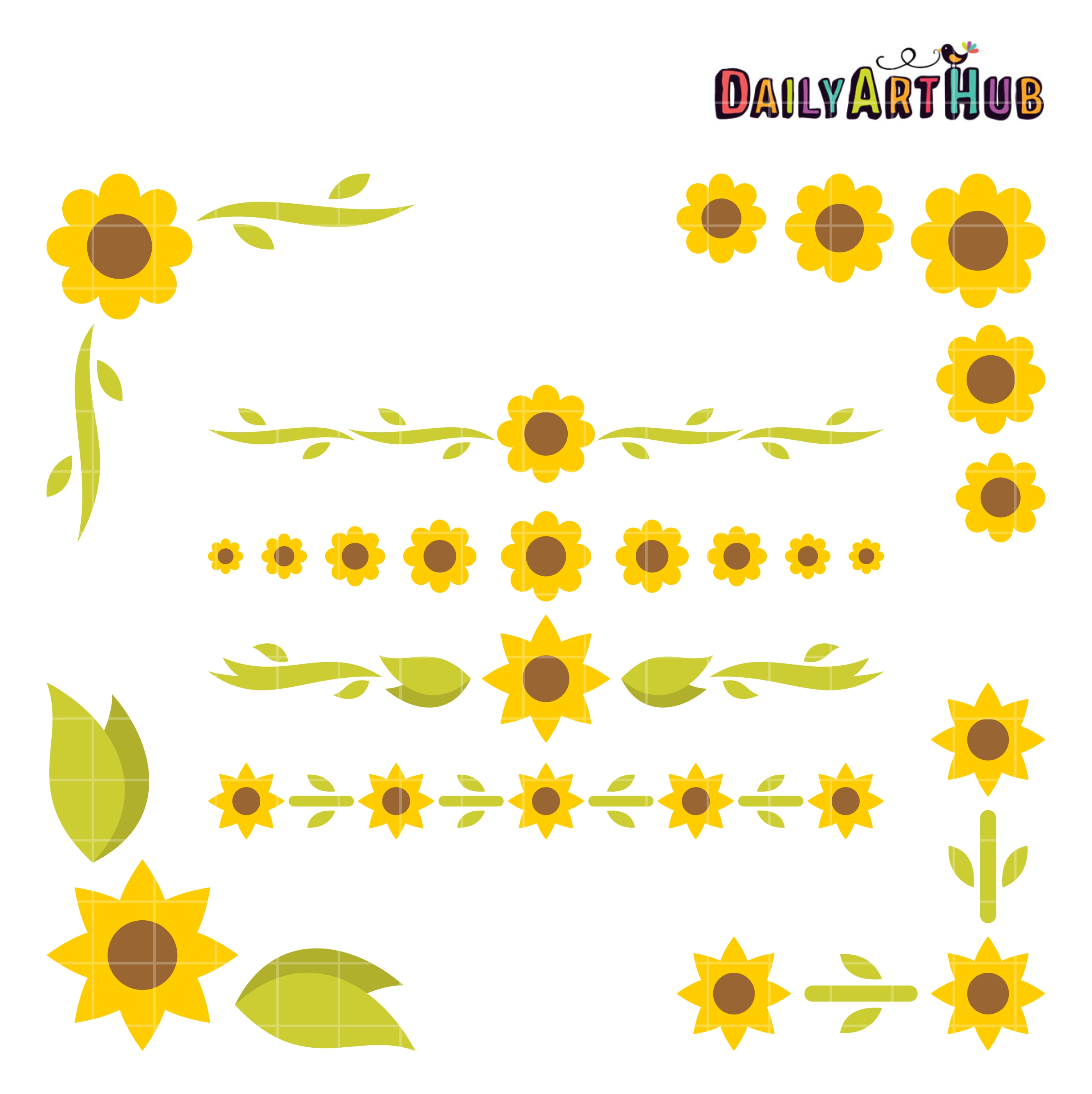 Sunflower Borders And Corners Clip Art Set – Daily Art Hub ...