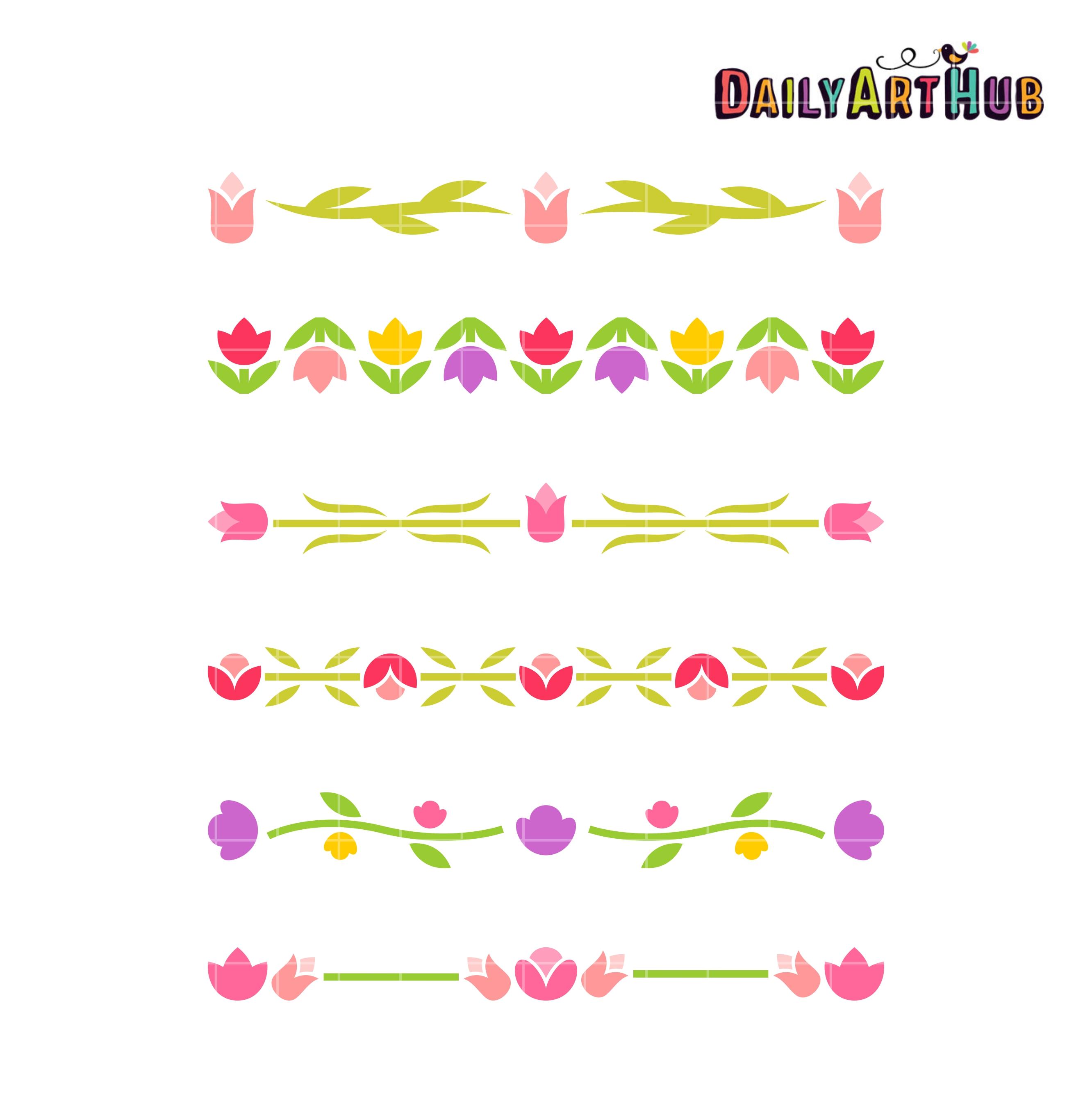 Tulip Borders Clip Art Set – Daily Art Hub – Free Clip Art ... Tulips Border Clipart