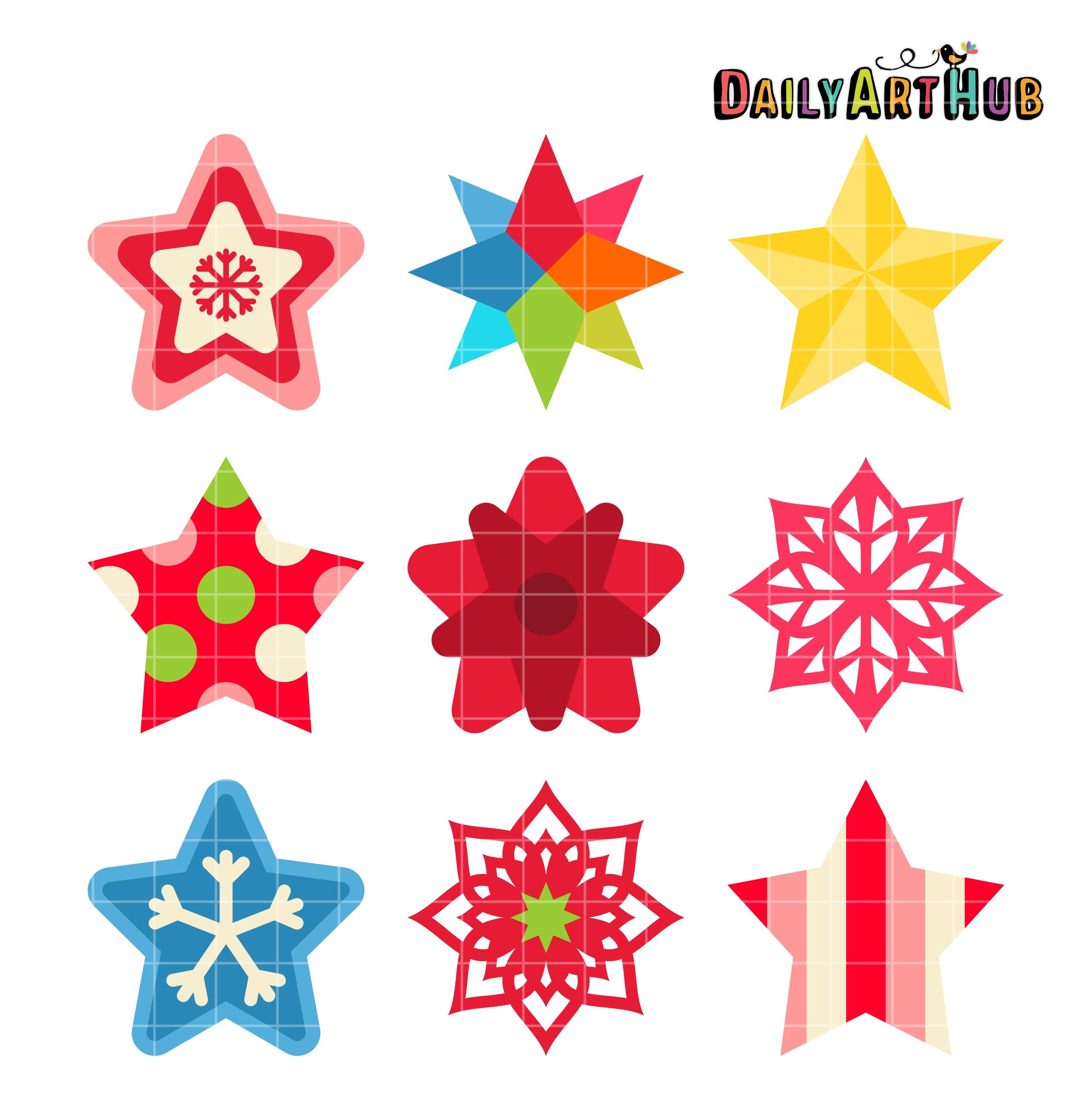 Christmas Star Images Clip Art.Christmas Stars Clip Art Set