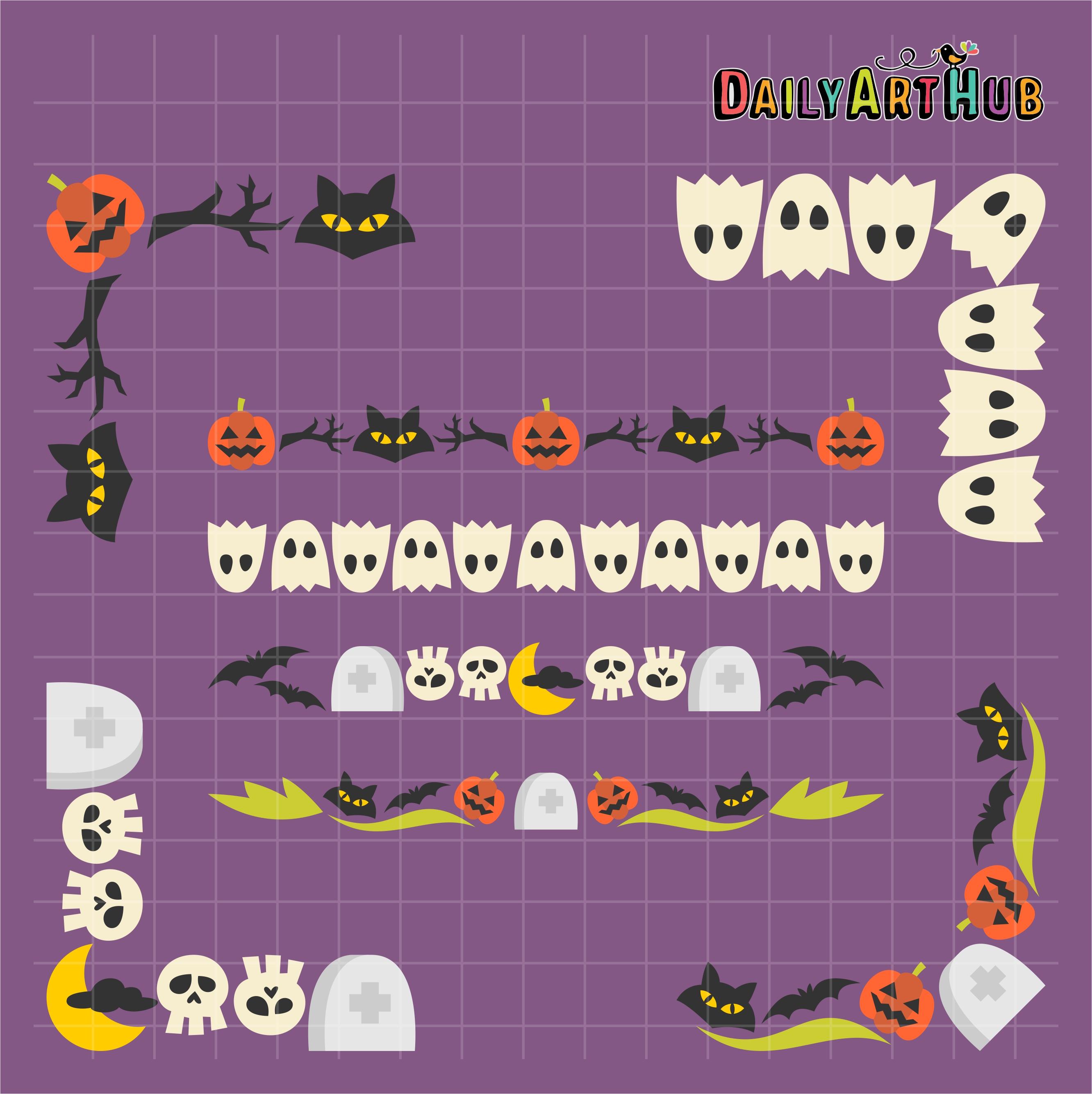 Halloween Borders And Corners Clip Art Set | Daily Art Hub - Free ...