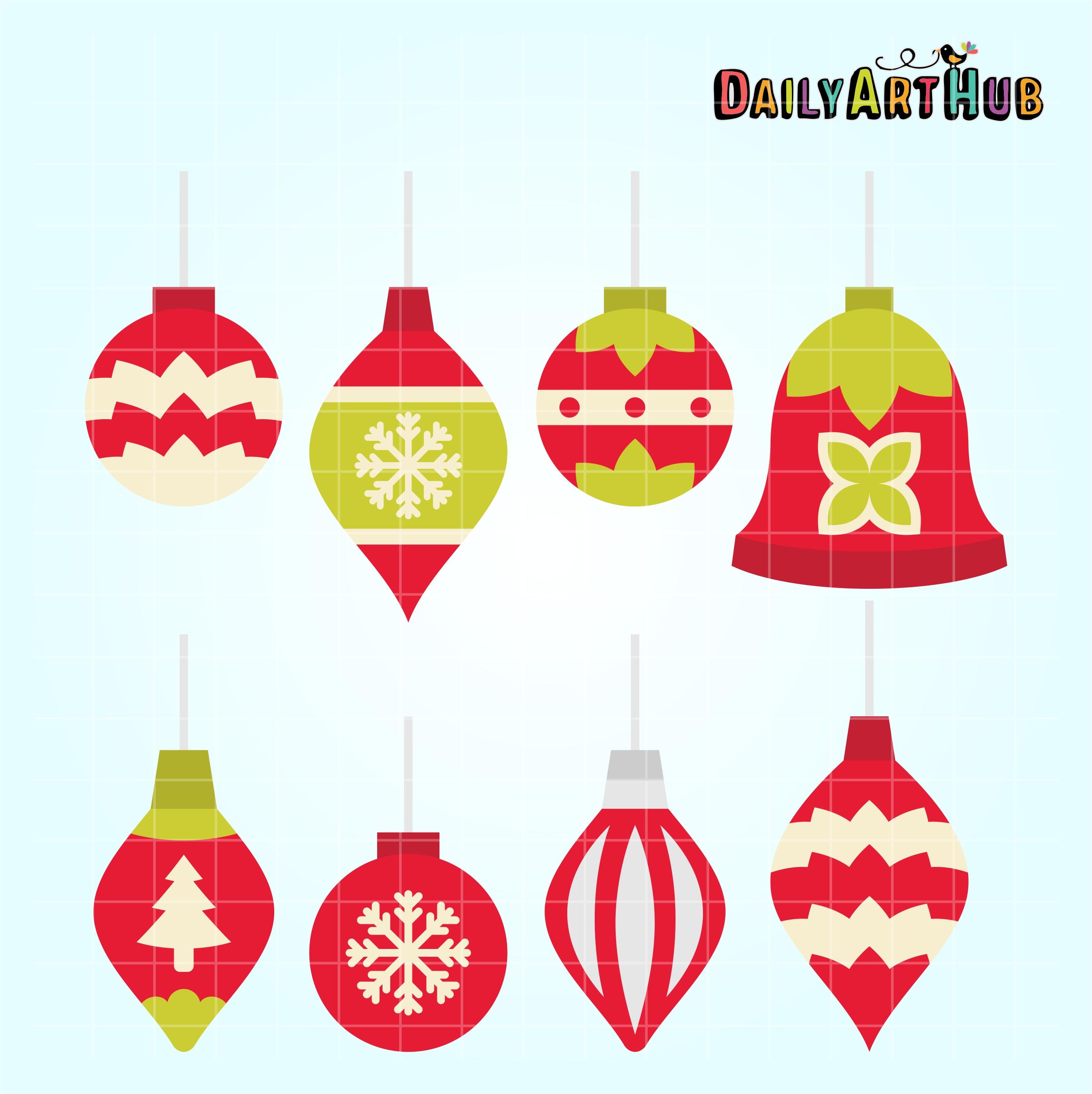 Simple Christmas Ornaments Clip Art Set | Daily Art Hub