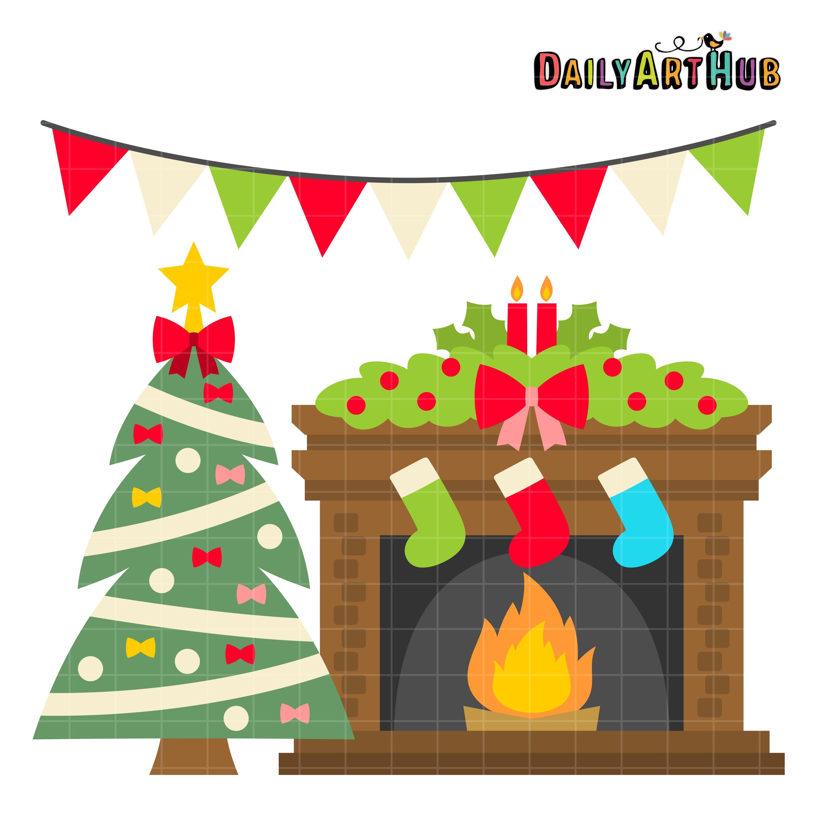 Christmas Fireplace Clip Art Set | Daily Art Hub