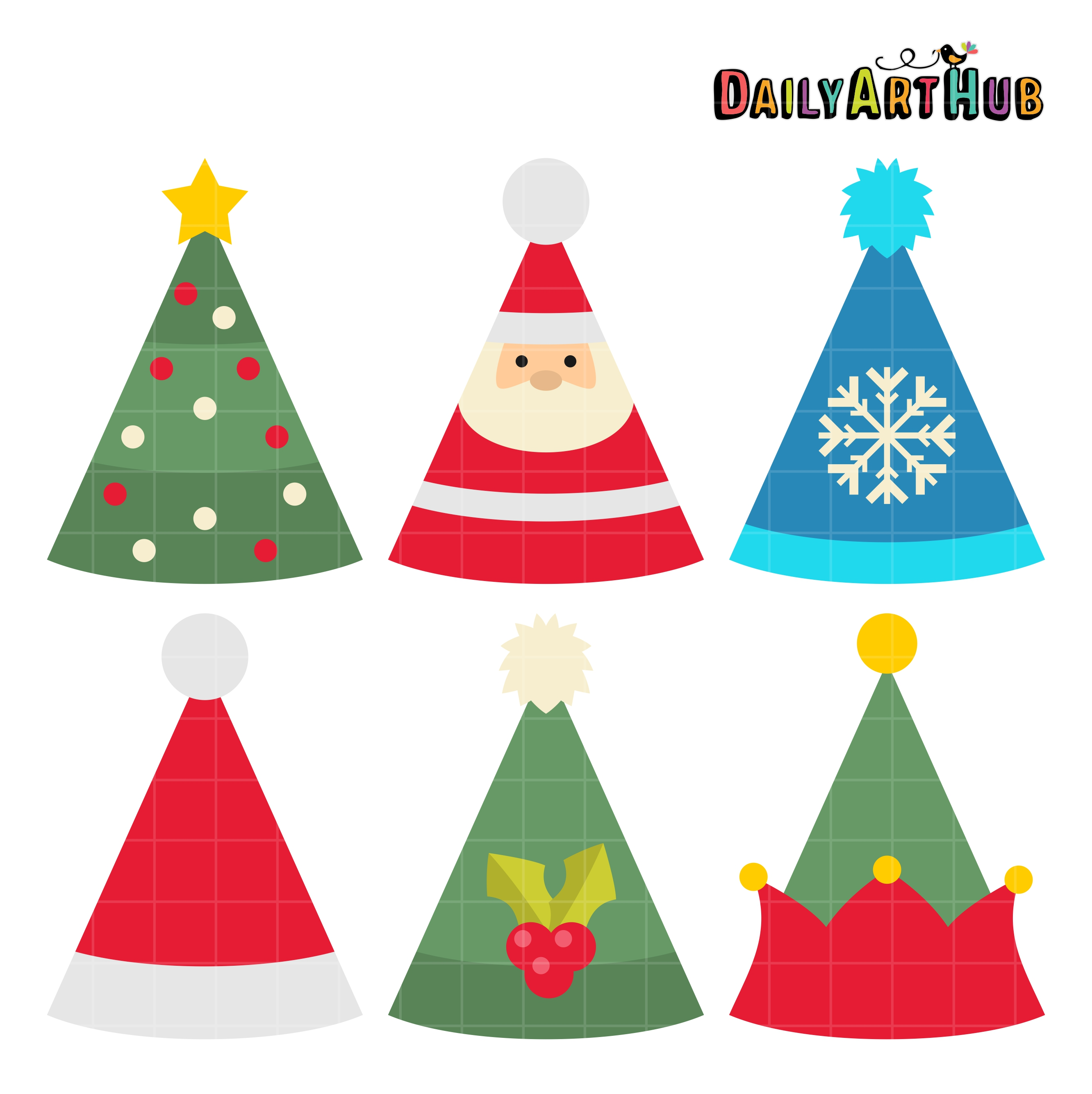 Christmas Party Images Clip Art.Christmas Party Hats Clip Art Set