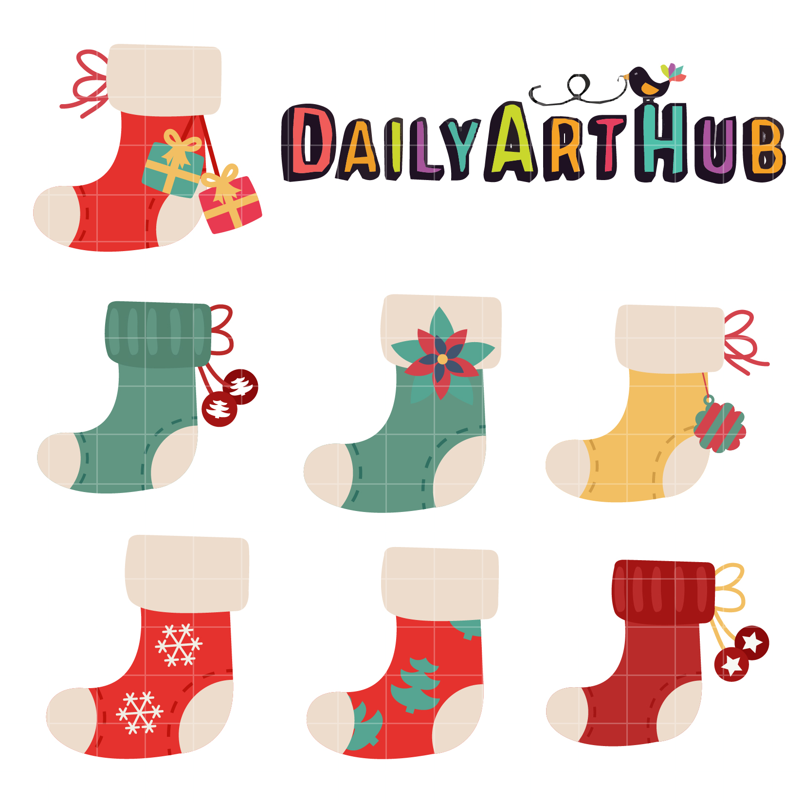 Christmas Socks Clip Art Set - Daily Art Hub - Free Clip ... (1650 x 1650 Pixel)