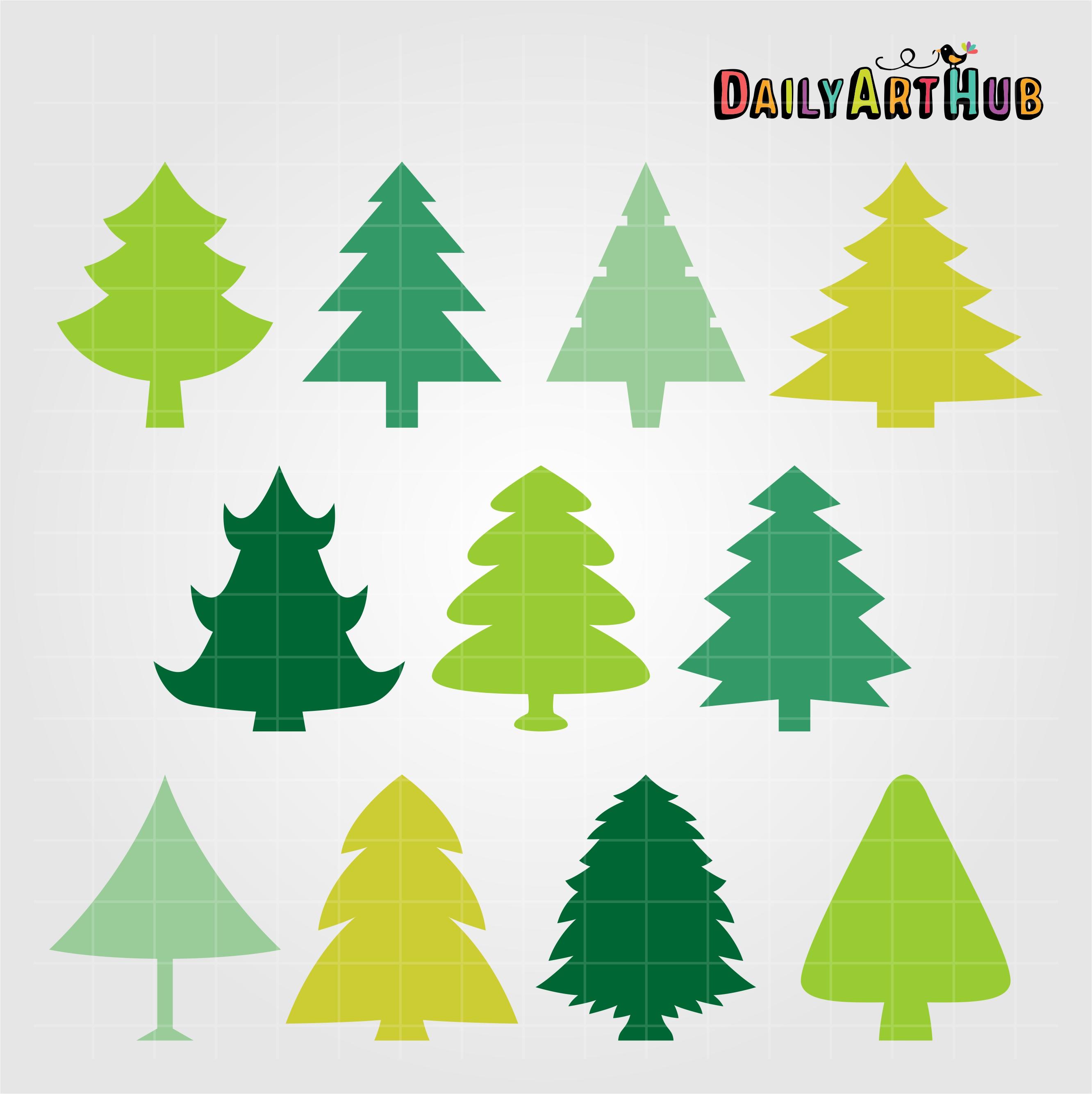 Christmas Tree Shapes Clip Art Set Daily Art Hub Free Clip Art Everyday