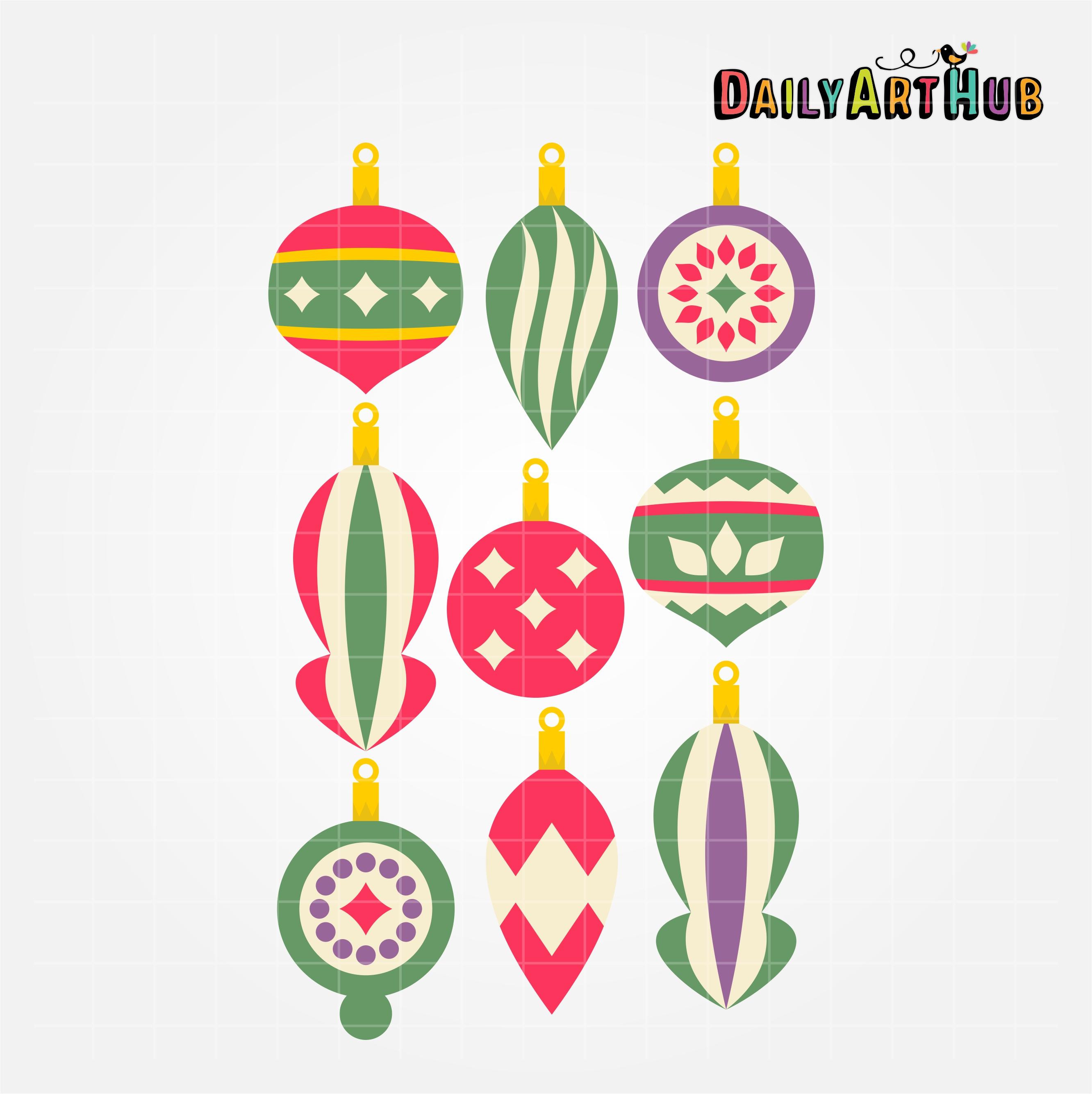 Retro Christmas Decorations Clip Art Set